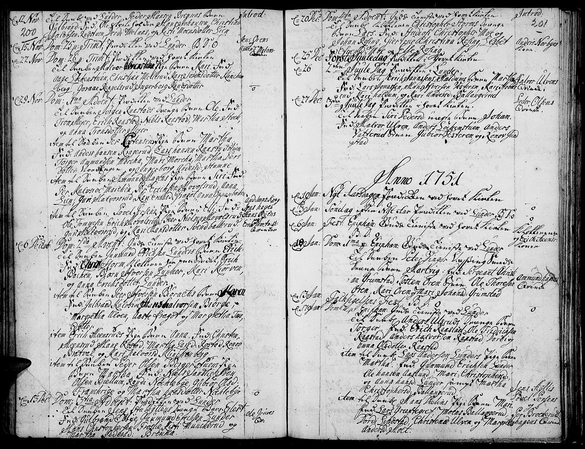 SAH, Jevnaker prestekontor, Ministerialbok nr. 2, 1725-1751, s. 200-201