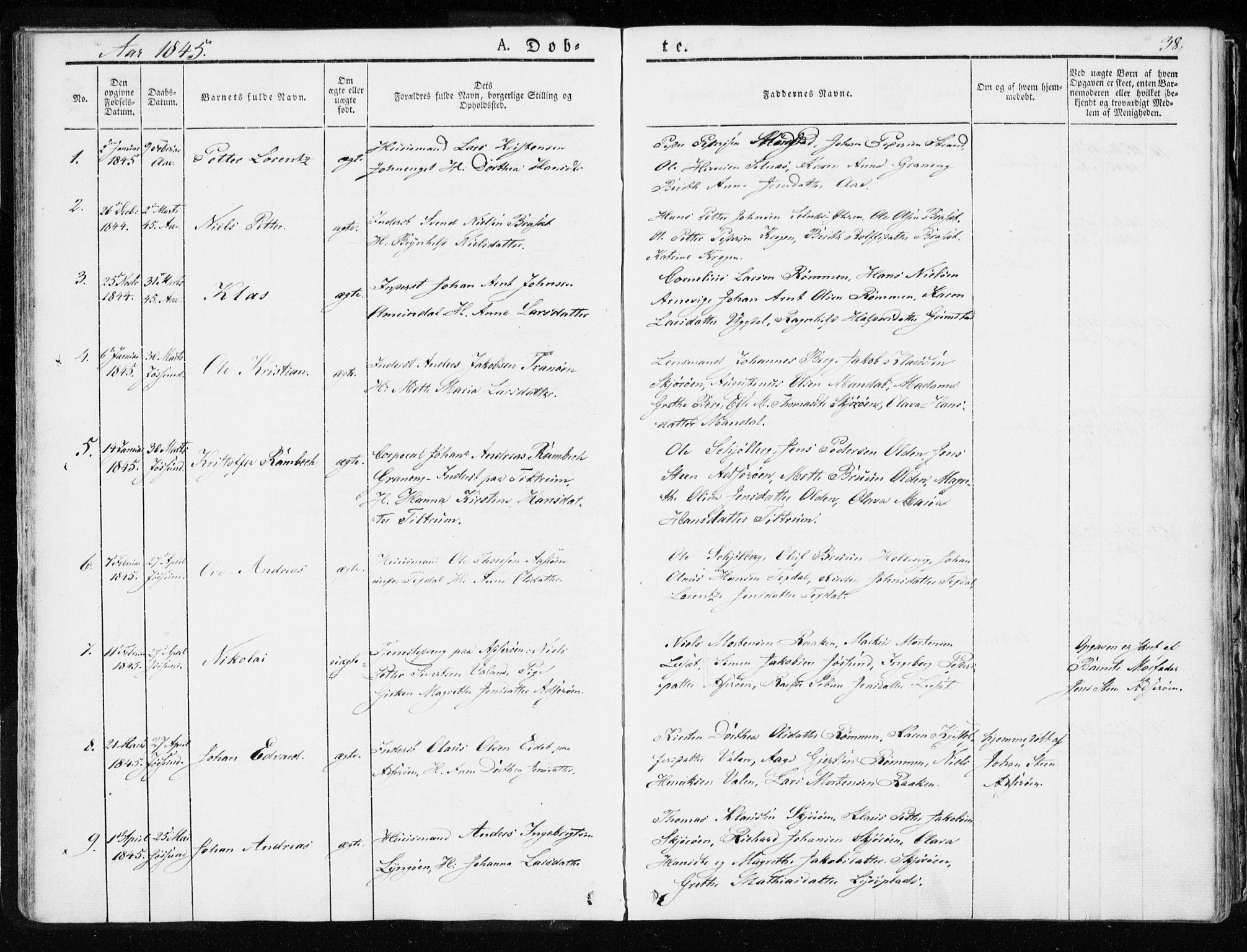 SAT, Ministerialprotokoller, klokkerbøker og fødselsregistre - Sør-Trøndelag, 655/L0676: Ministerialbok nr. 655A05, 1830-1847, s. 38