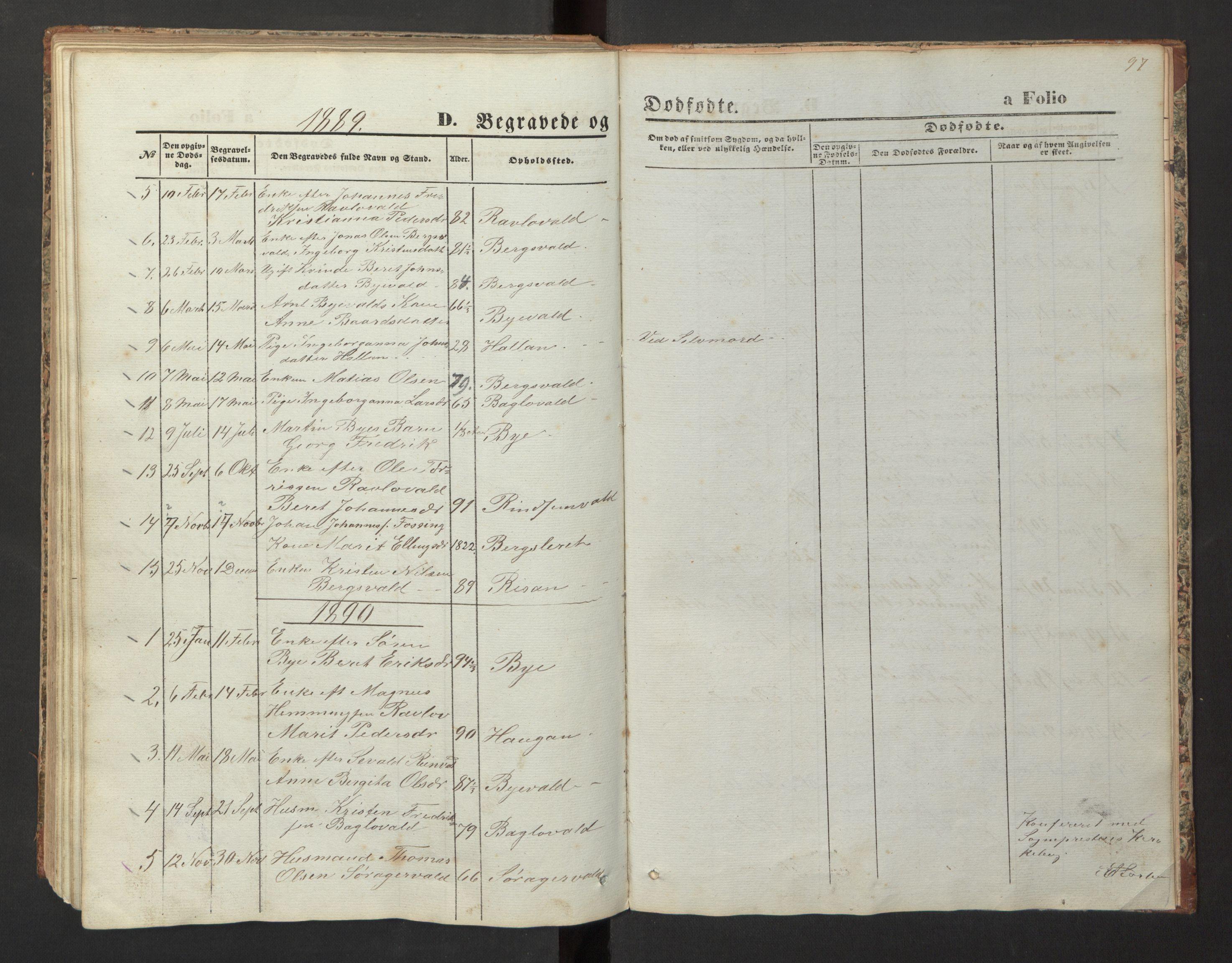 SAT, Ministerialprotokoller, klokkerbøker og fødselsregistre - Nord-Trøndelag, 726/L0271: Klokkerbok nr. 726C02, 1869-1897, s. 97