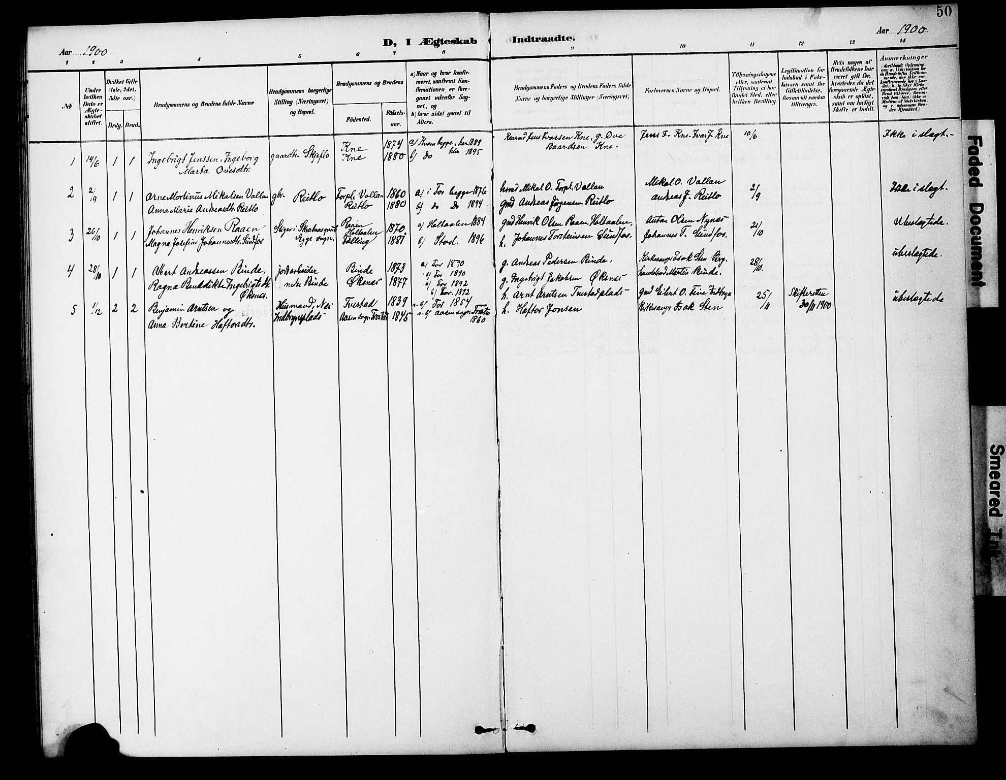 SAT, Ministerialprotokoller, klokkerbøker og fødselsregistre - Nord-Trøndelag, 746/L0452: Ministerialbok nr. 746A09, 1900-1908, s. 50