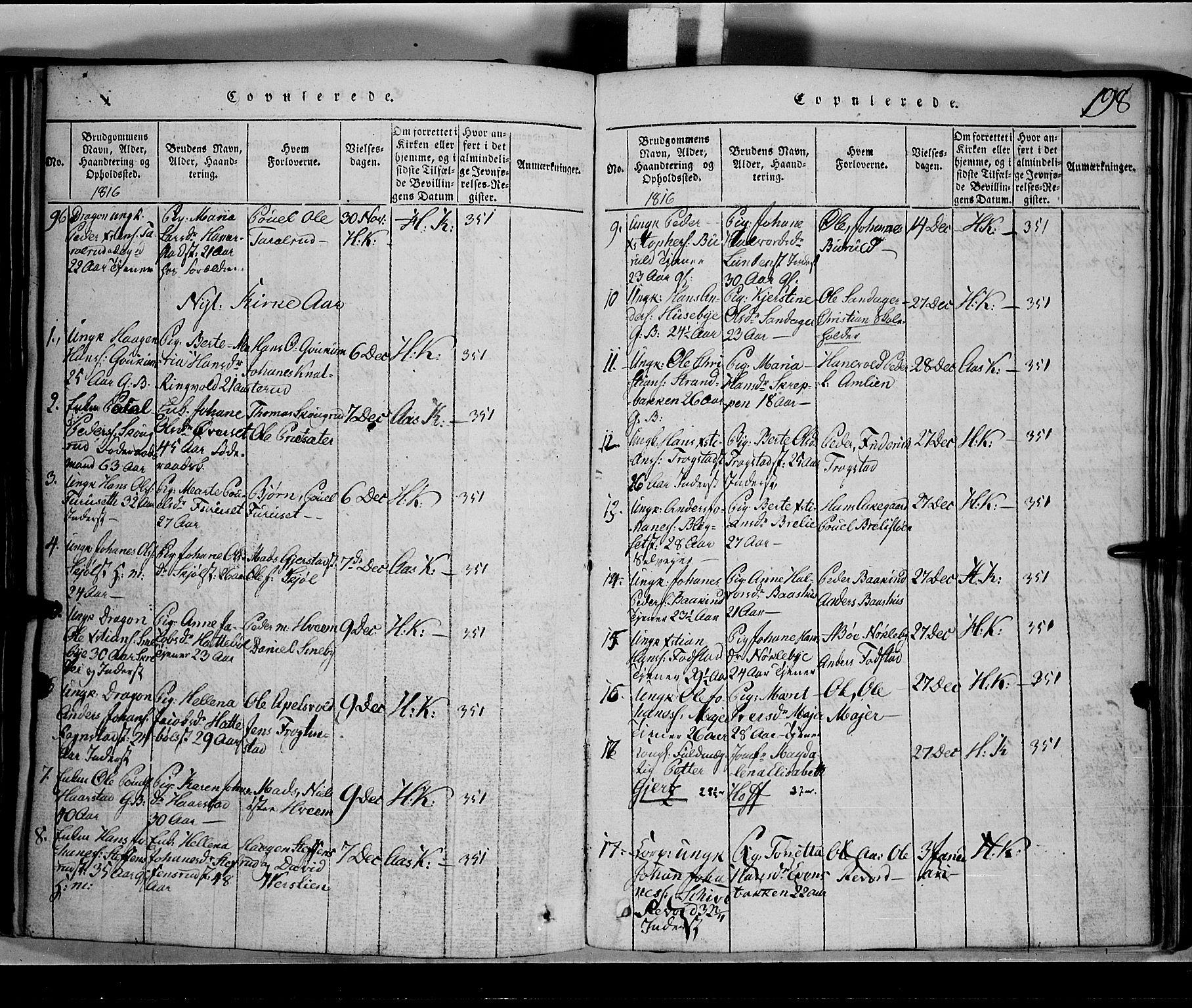 SAH, Toten prestekontor, Klokkerbok nr. 1, 1814-1820, s. 198