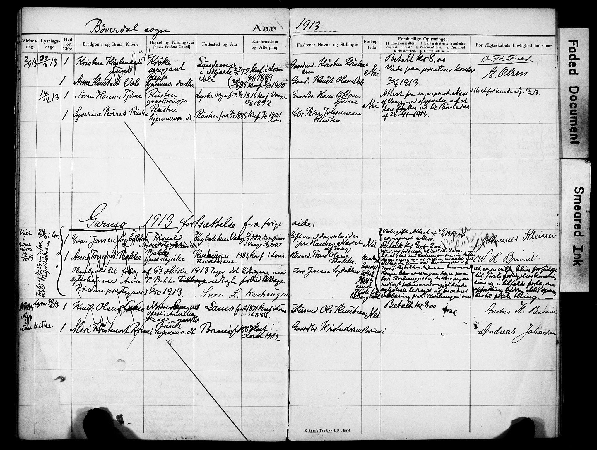 SAH, Lom prestekontor, N/L0001: Lysningsprotokoll nr. 1, 1904-1922
