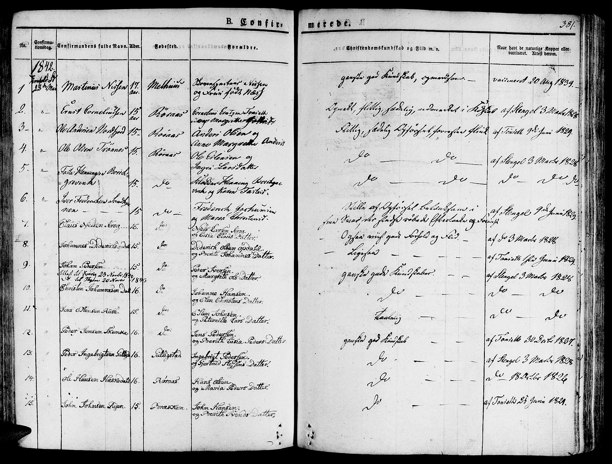 SAT, Ministerialprotokoller, klokkerbøker og fødselsregistre - Sør-Trøndelag, 681/L0930: Ministerialbok nr. 681A08, 1829-1844, s. 381