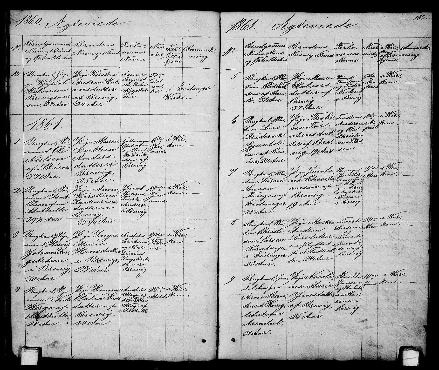 SAKO, Brevik kirkebøker, G/Ga/L0002: Klokkerbok nr. 2, 1846-1865, s. 188