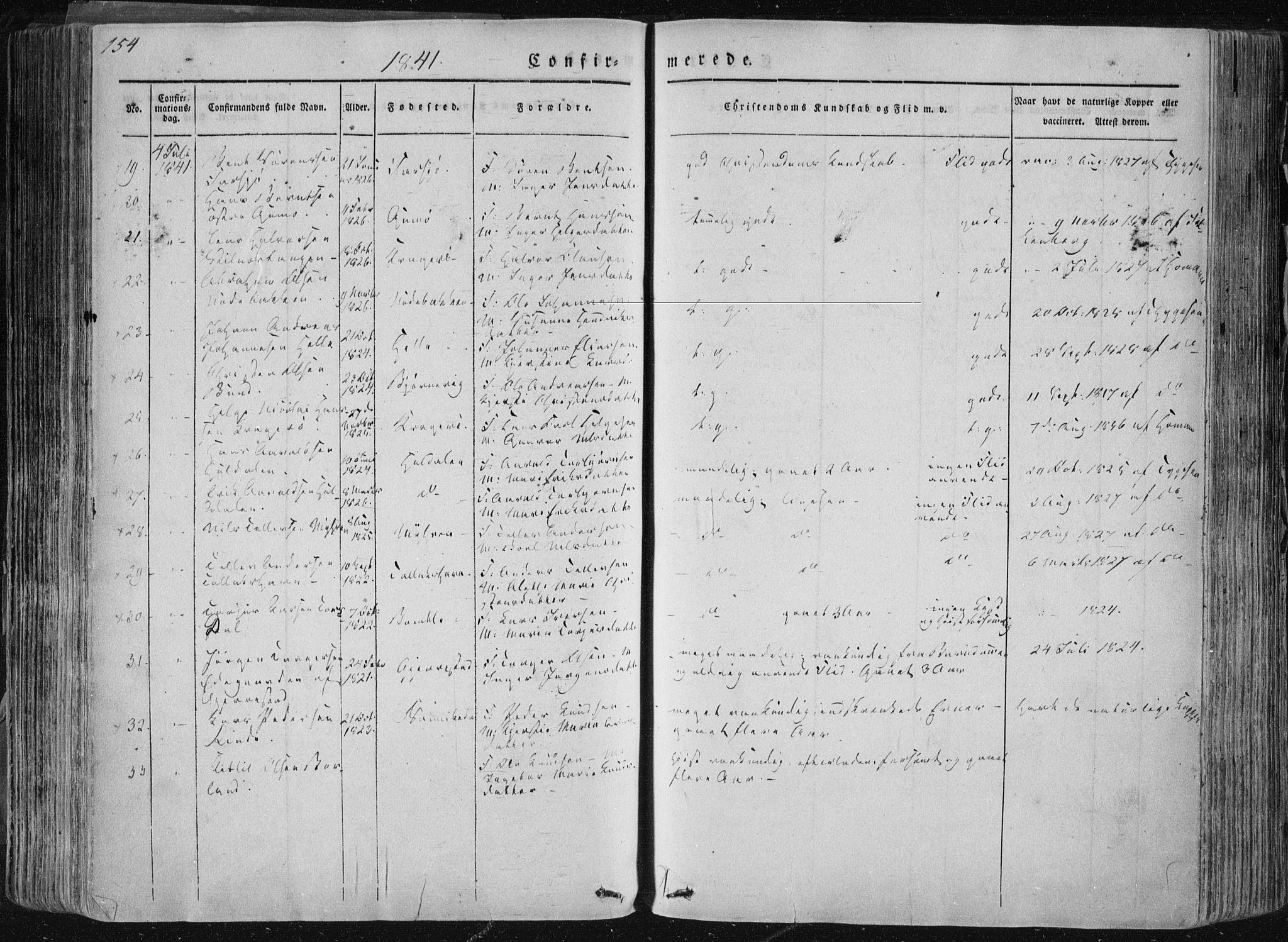 SAKO, Sannidal kirkebøker, F/Fa/L0007: Ministerialbok nr. 7, 1831-1854, s. 154