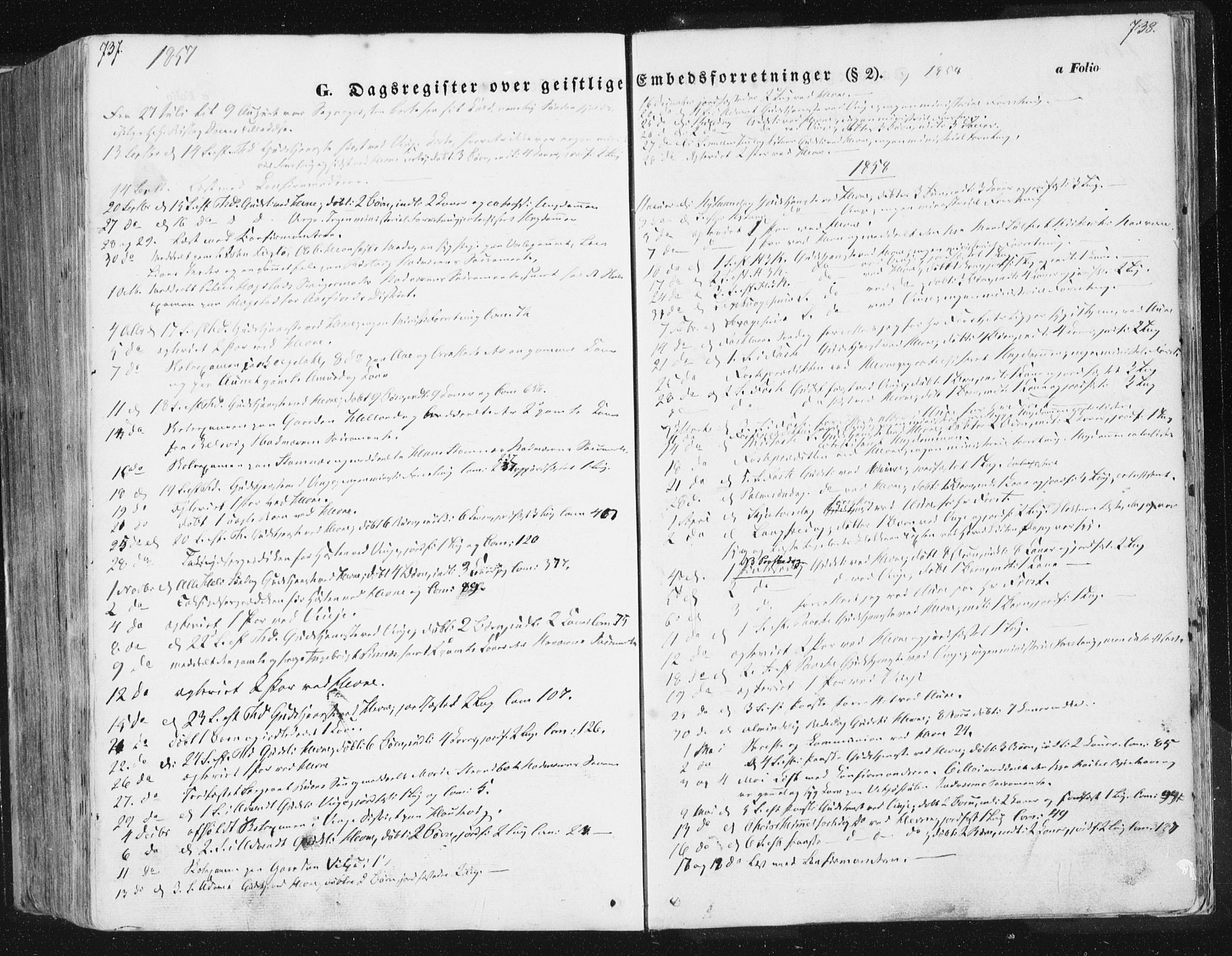 SAT, Ministerialprotokoller, klokkerbøker og fødselsregistre - Sør-Trøndelag, 630/L0494: Ministerialbok nr. 630A07, 1852-1868, s. 737-738