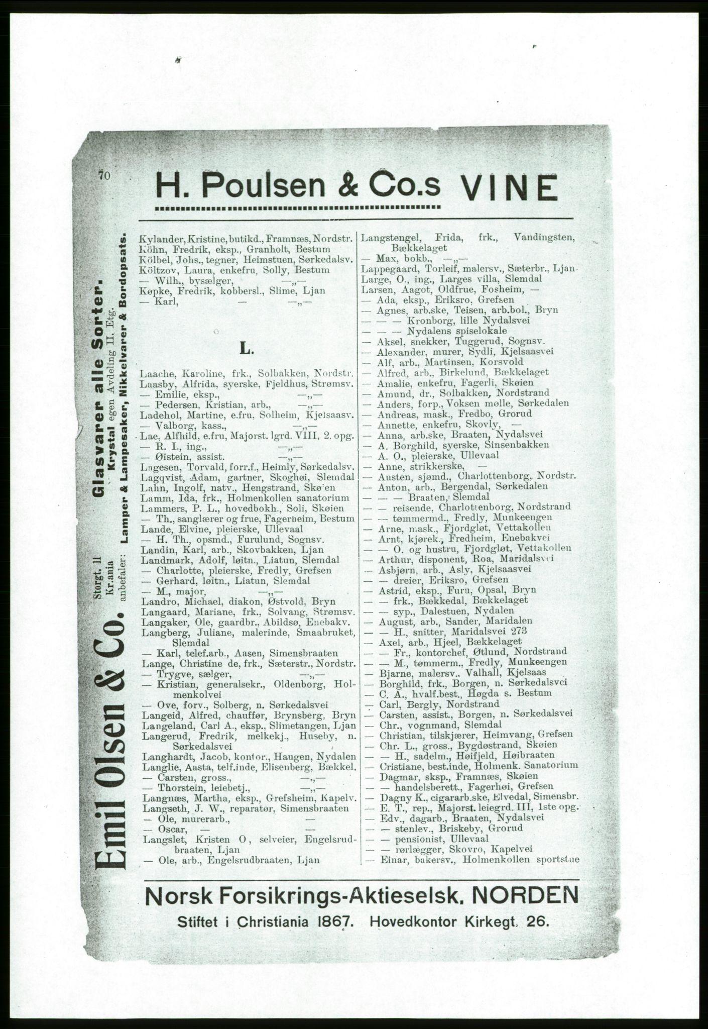 RA, Aker adressebok/adressekalender (publikasjon)*, 1916-1917, s. 70