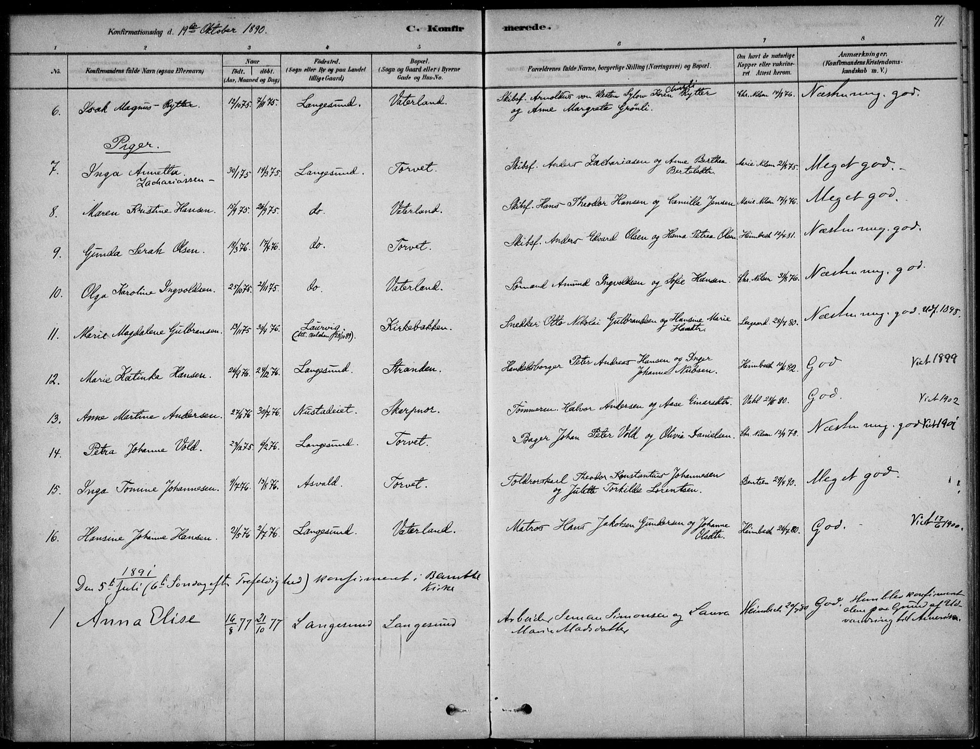 SAKO, Langesund kirkebøker, F/Fa/L0002: Ministerialbok nr. 2, 1878-1892, s. 71