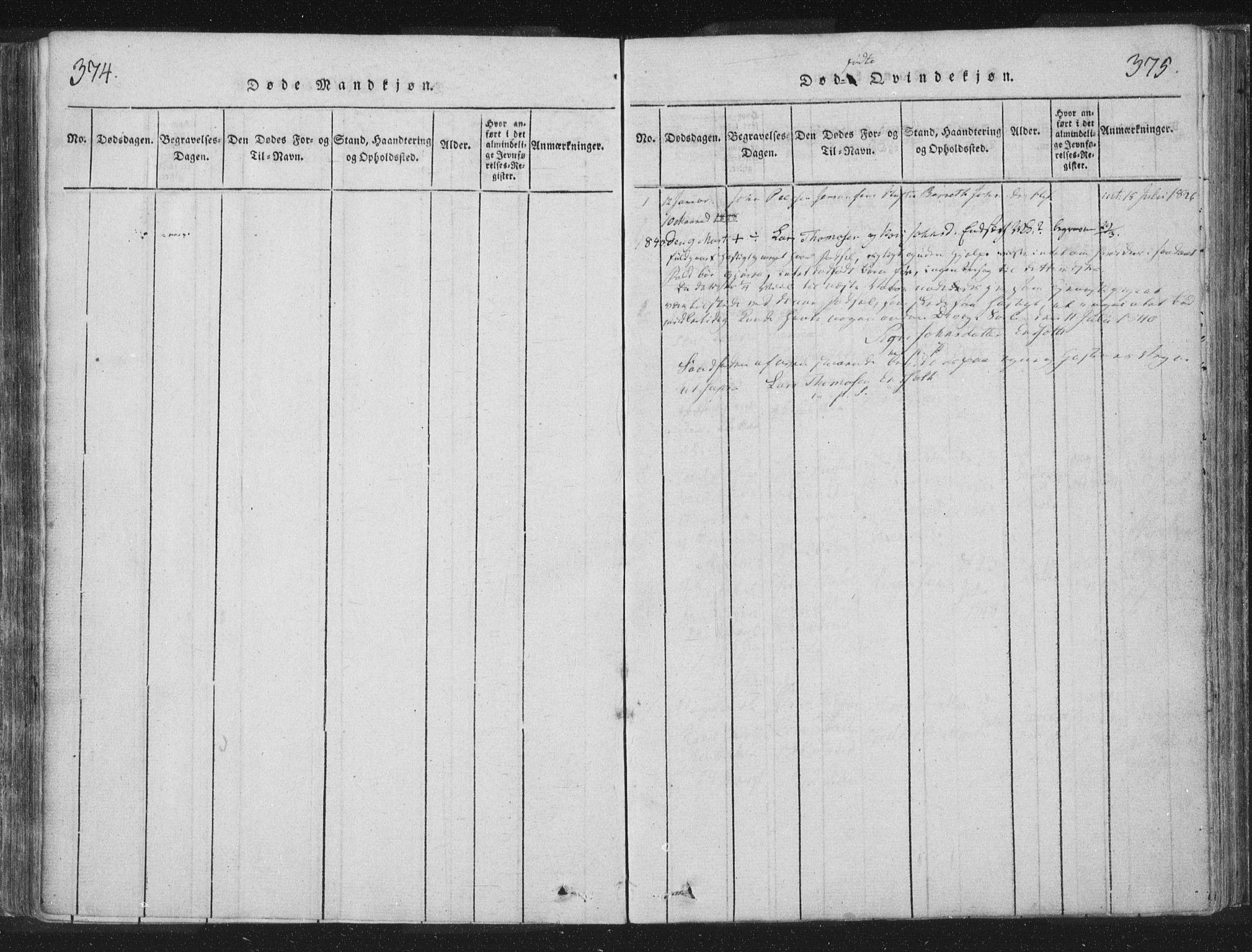 SAT, Ministerialprotokoller, klokkerbøker og fødselsregistre - Nord-Trøndelag, 755/L0491: Ministerialbok nr. 755A01 /2, 1817-1864, s. 374-375