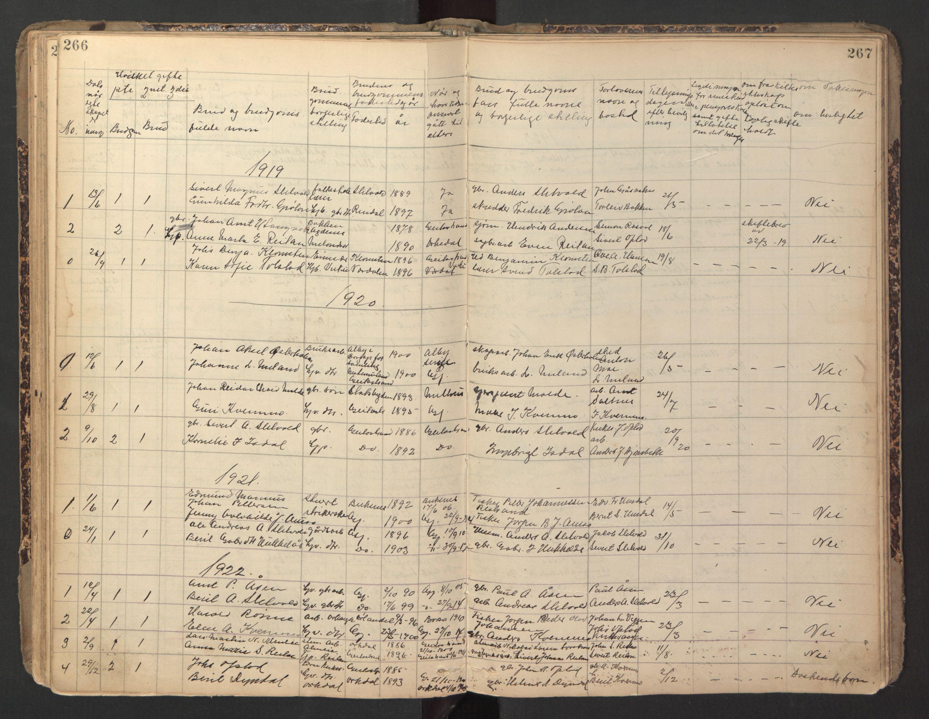 SAT, Ministerialprotokoller, klokkerbøker og fødselsregistre - Sør-Trøndelag, 670/L0837: Klokkerbok nr. 670C01, 1905-1946, s. 266-267