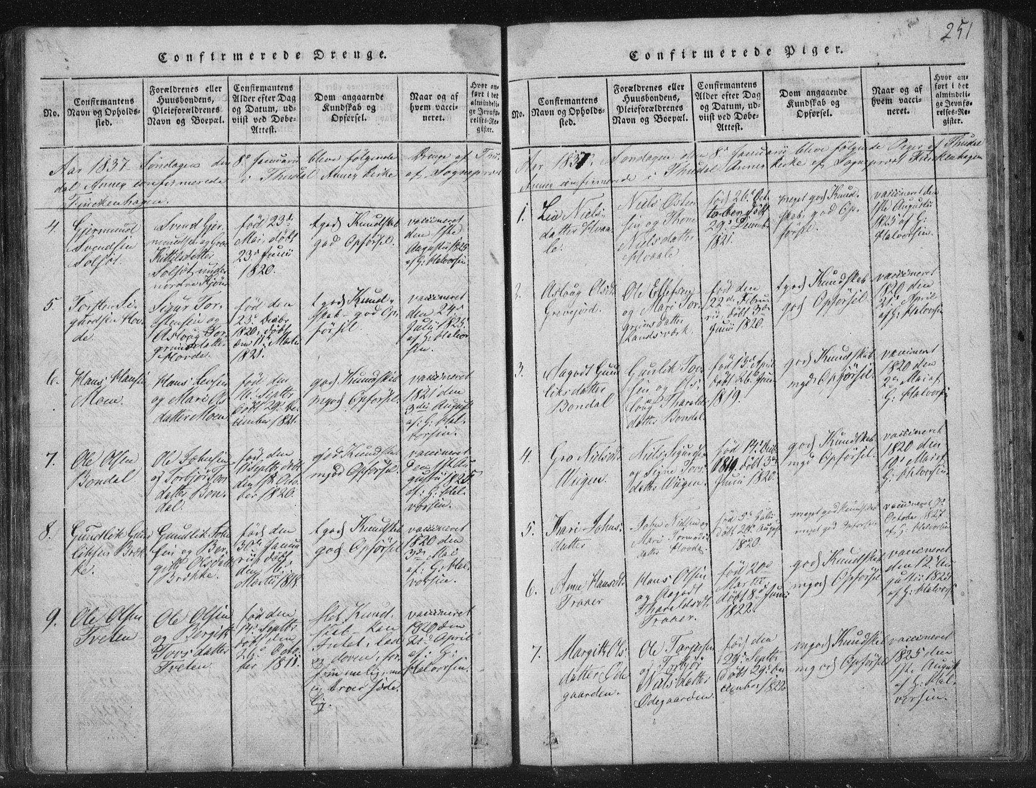 SAKO, Hjartdal kirkebøker, F/Fc/L0001: Ministerialbok nr. III 1, 1815-1843, s. 251