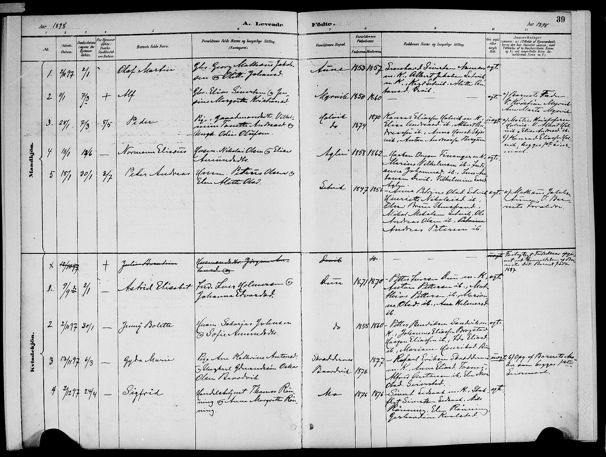 SAT, Ministerialprotokoller, klokkerbøker og fødselsregistre - Nord-Trøndelag, 773/L0617: Ministerialbok nr. 773A08, 1887-1910, s. 39