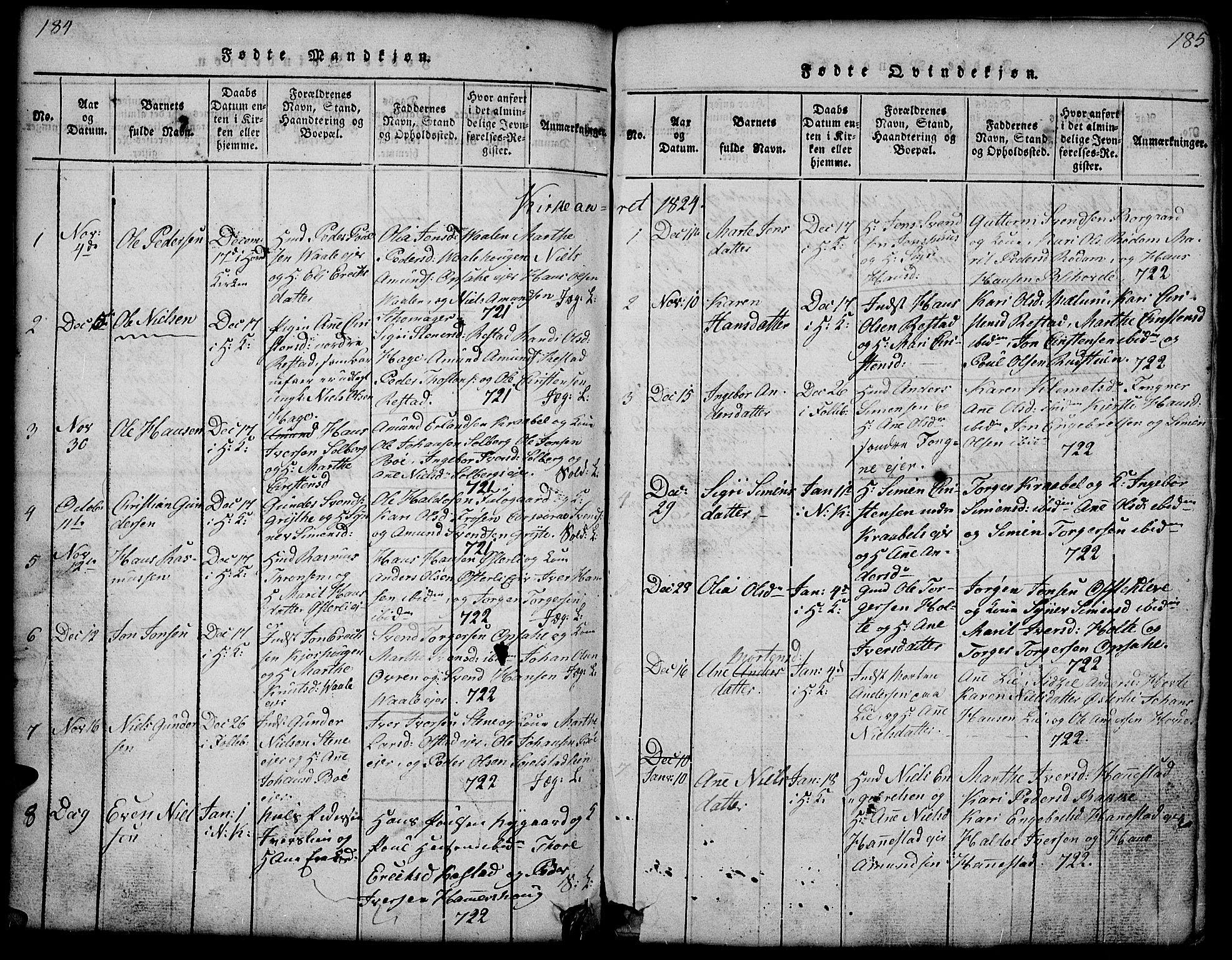 SAH, Gausdal prestekontor, Klokkerbok nr. 1, 1817-1848, s. 184-185