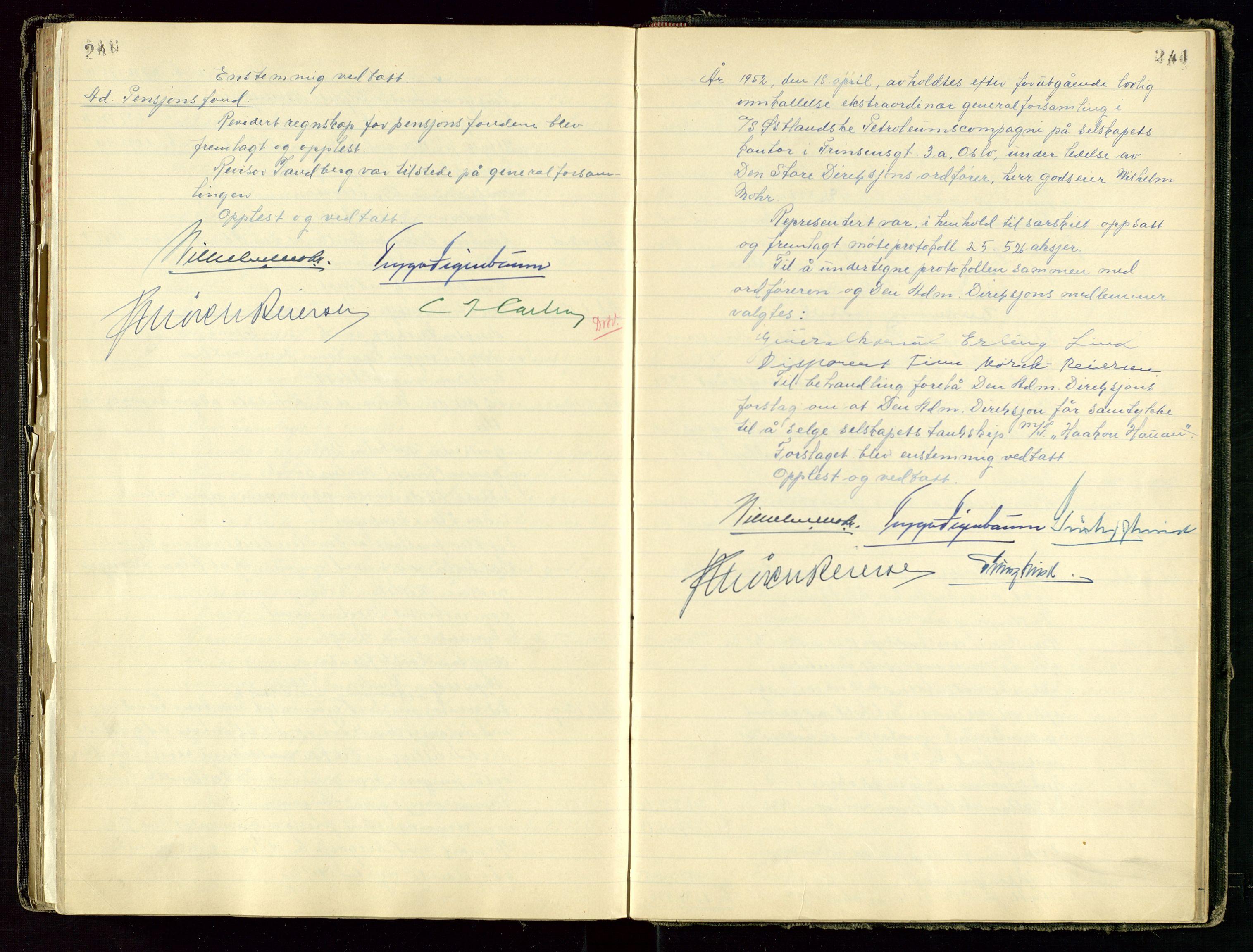 SAST, PA 1534 - Østlandske Petroleumscompagni A/S, A/Aa/L0001: Generalforsamlinger og direksjonsprotokoller., 1892-1960, s. 240-241