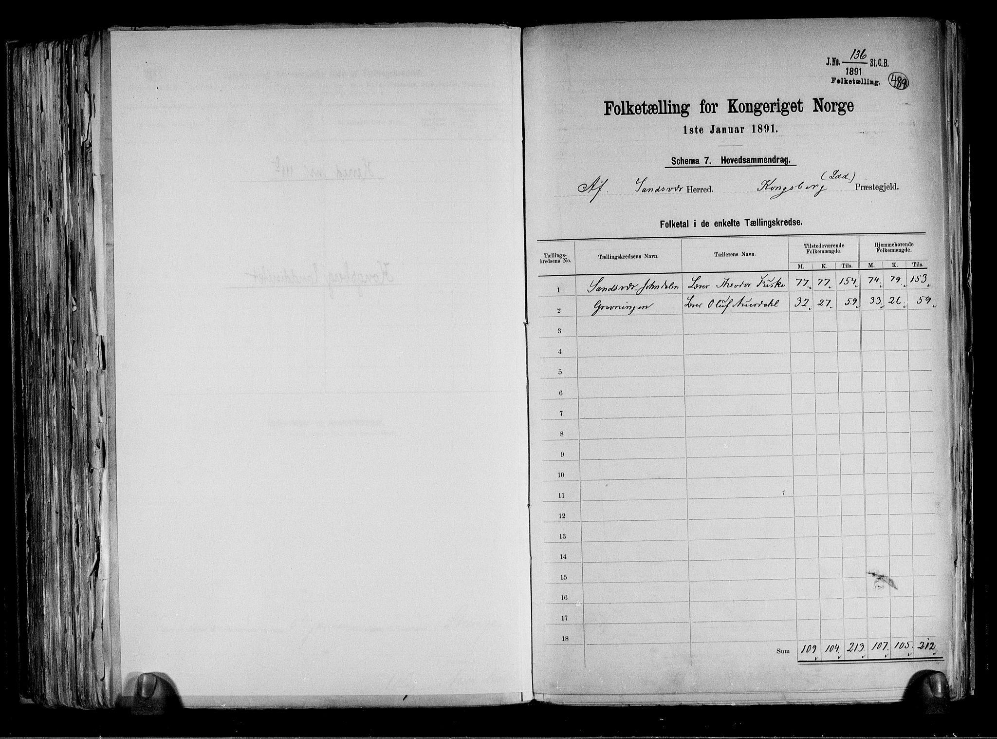 RA, Folketelling 1891 for 0629 Sandsvær herred, 1891, s. 33