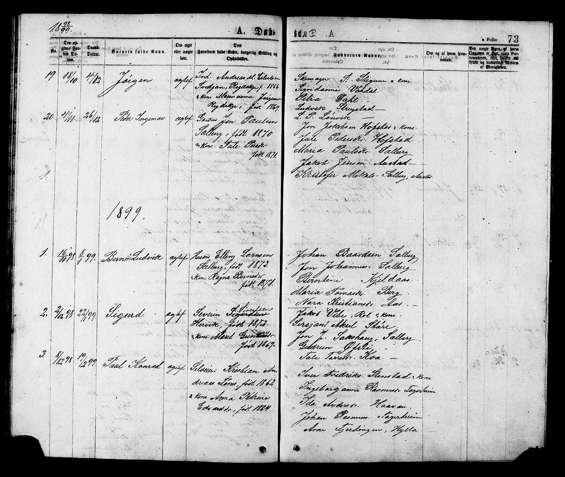 SAT, Ministerialprotokoller, klokkerbøker og fødselsregistre - Nord-Trøndelag, 731/L0311: Klokkerbok nr. 731C02, 1875-1911, s. 73