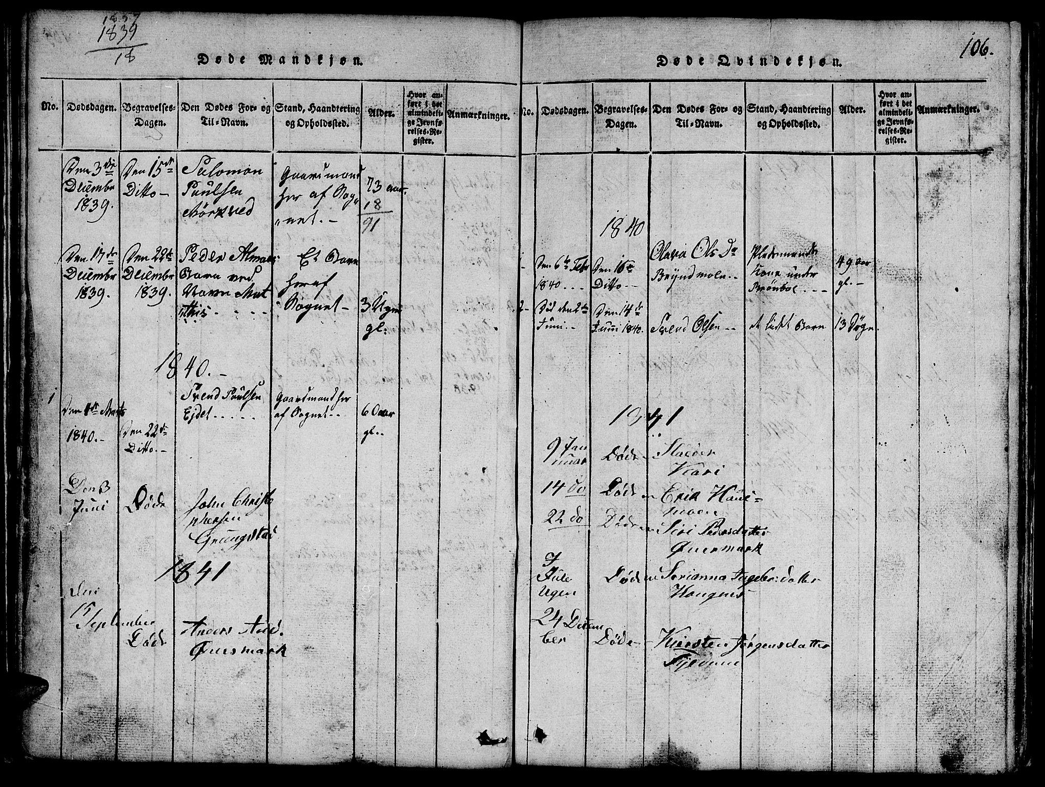 SAT, Ministerialprotokoller, klokkerbøker og fødselsregistre - Nord-Trøndelag, 765/L0562: Klokkerbok nr. 765C01, 1817-1851, s. 106