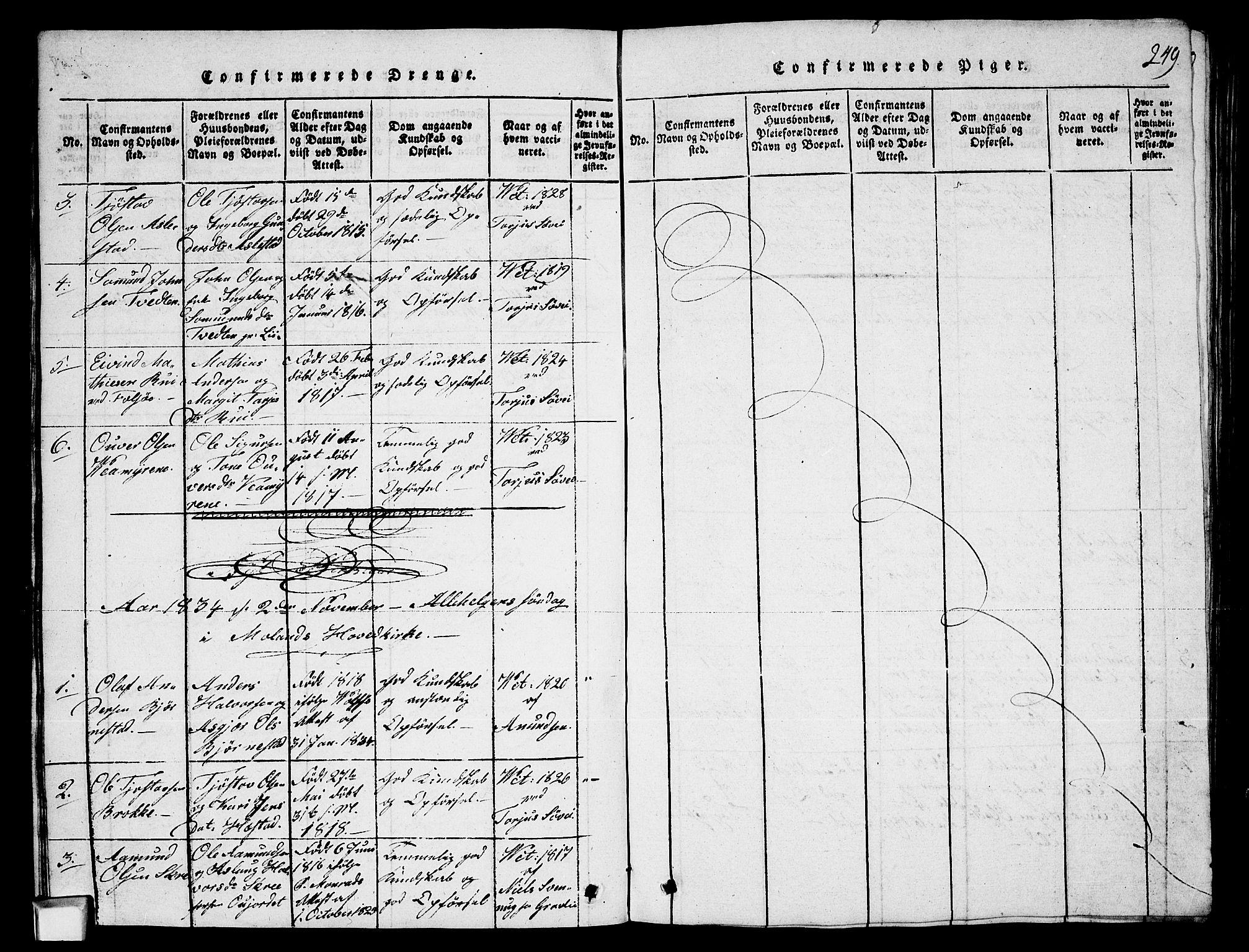 SAKO, Fyresdal kirkebøker, G/Ga/L0003: Klokkerbok nr. I 3, 1815-1863, s. 249