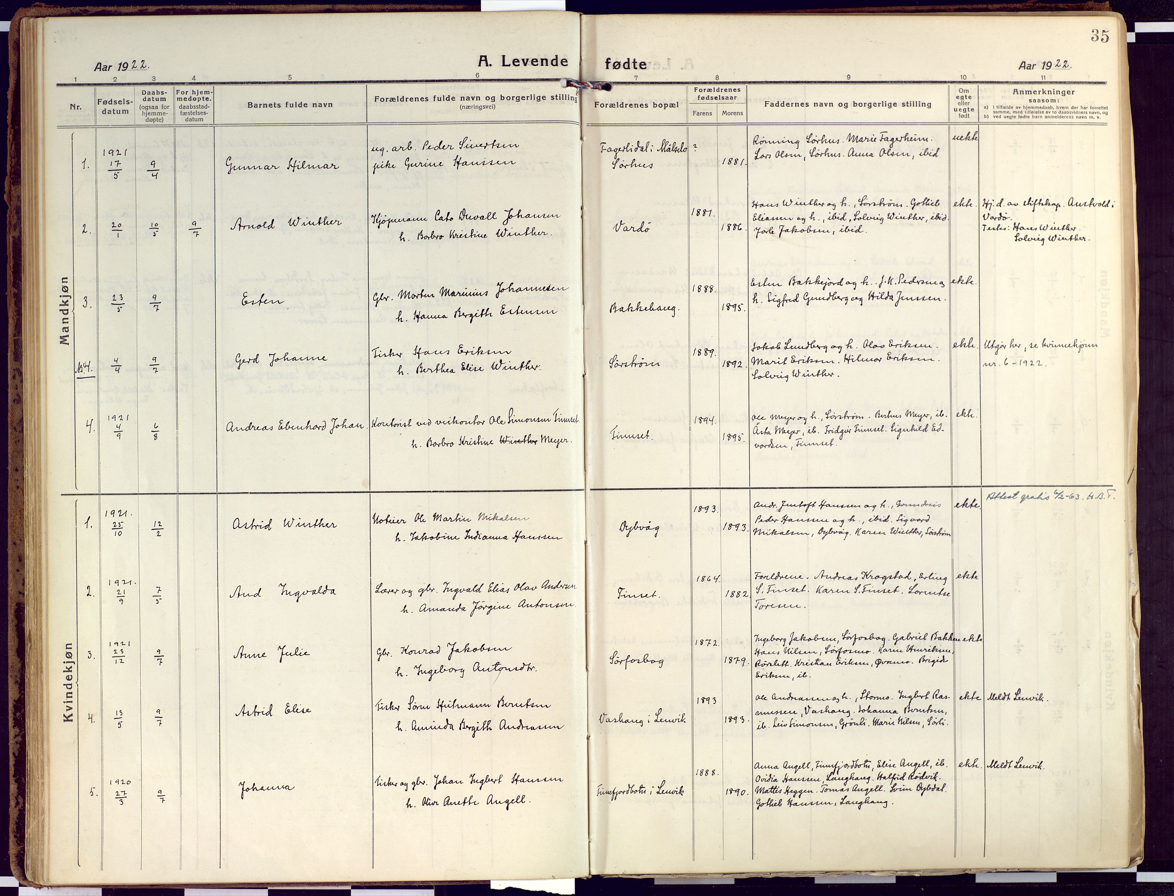 SATØ, Tranøy sokneprestkontor, I/Ia/Iaa/L0015kirke: Ministerialbok nr. 15, 1919-1928, s. 35