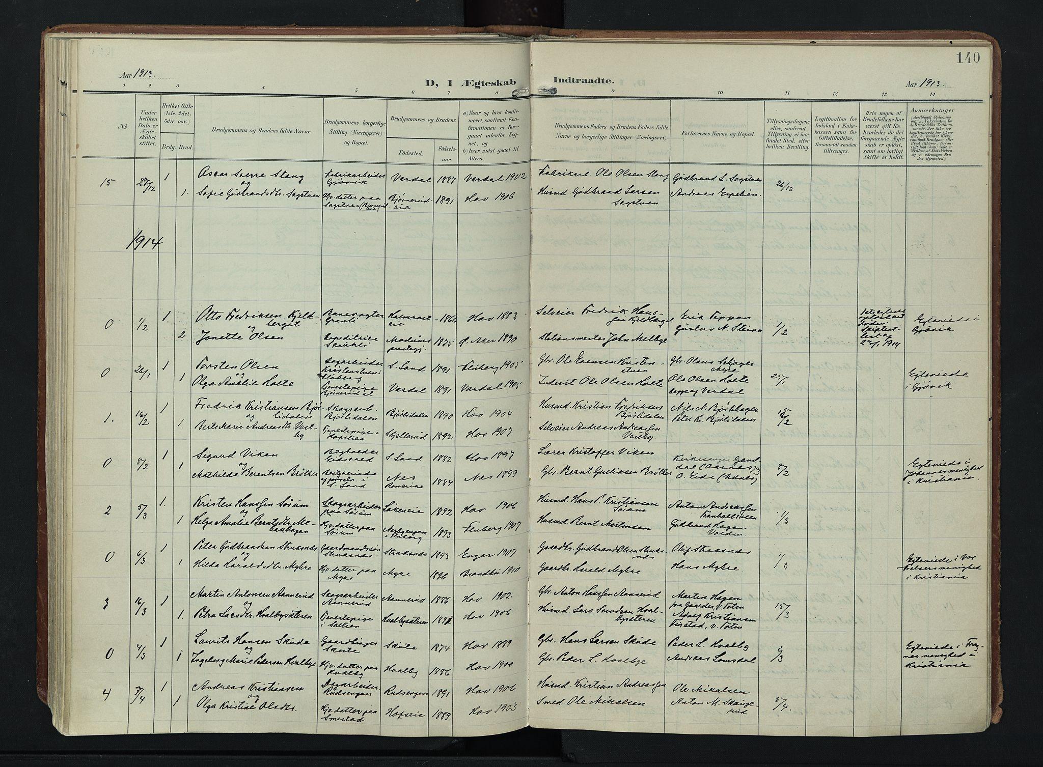 SAH, Søndre Land prestekontor, K/L0007: Ministerialbok nr. 7, 1905-1914, s. 140
