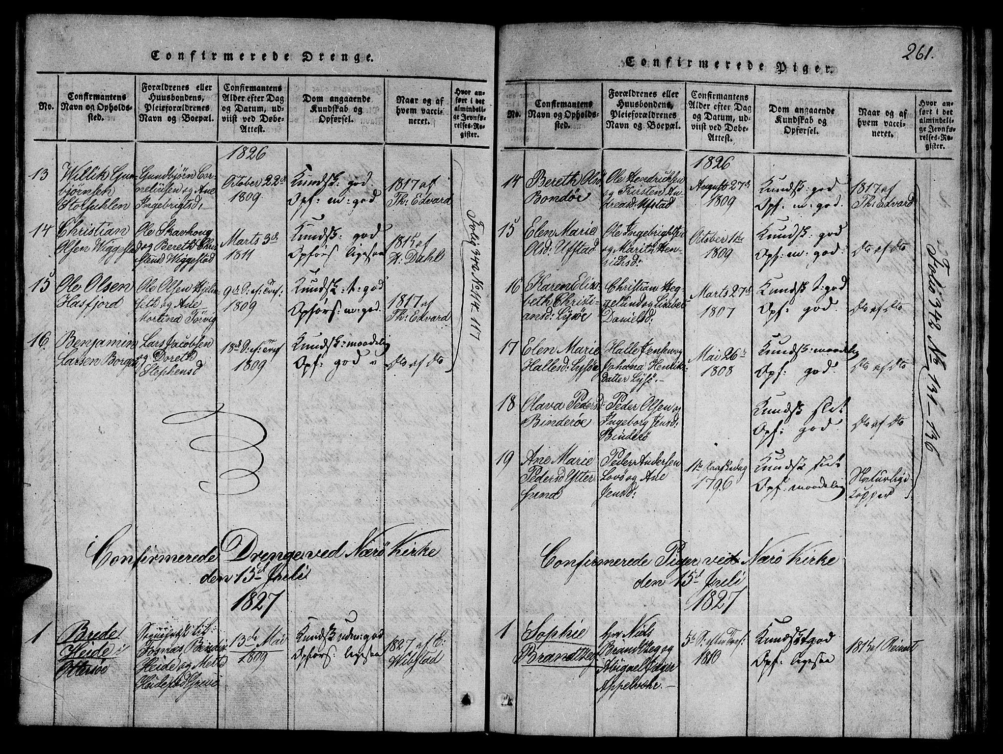 SAT, Ministerialprotokoller, klokkerbøker og fødselsregistre - Nord-Trøndelag, 784/L0667: Ministerialbok nr. 784A03 /1, 1816-1829, s. 261
