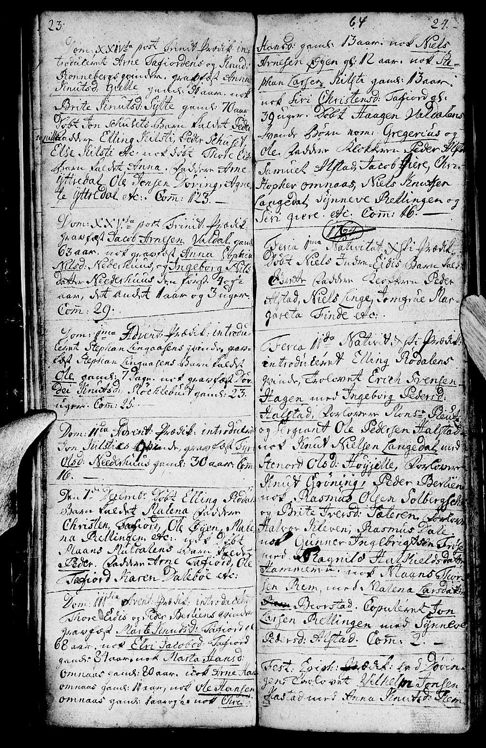 SAT, Ministerialprotokoller, klokkerbøker og fødselsregistre - Møre og Romsdal, 519/L0243: Ministerialbok nr. 519A02, 1760-1770, s. 23-24