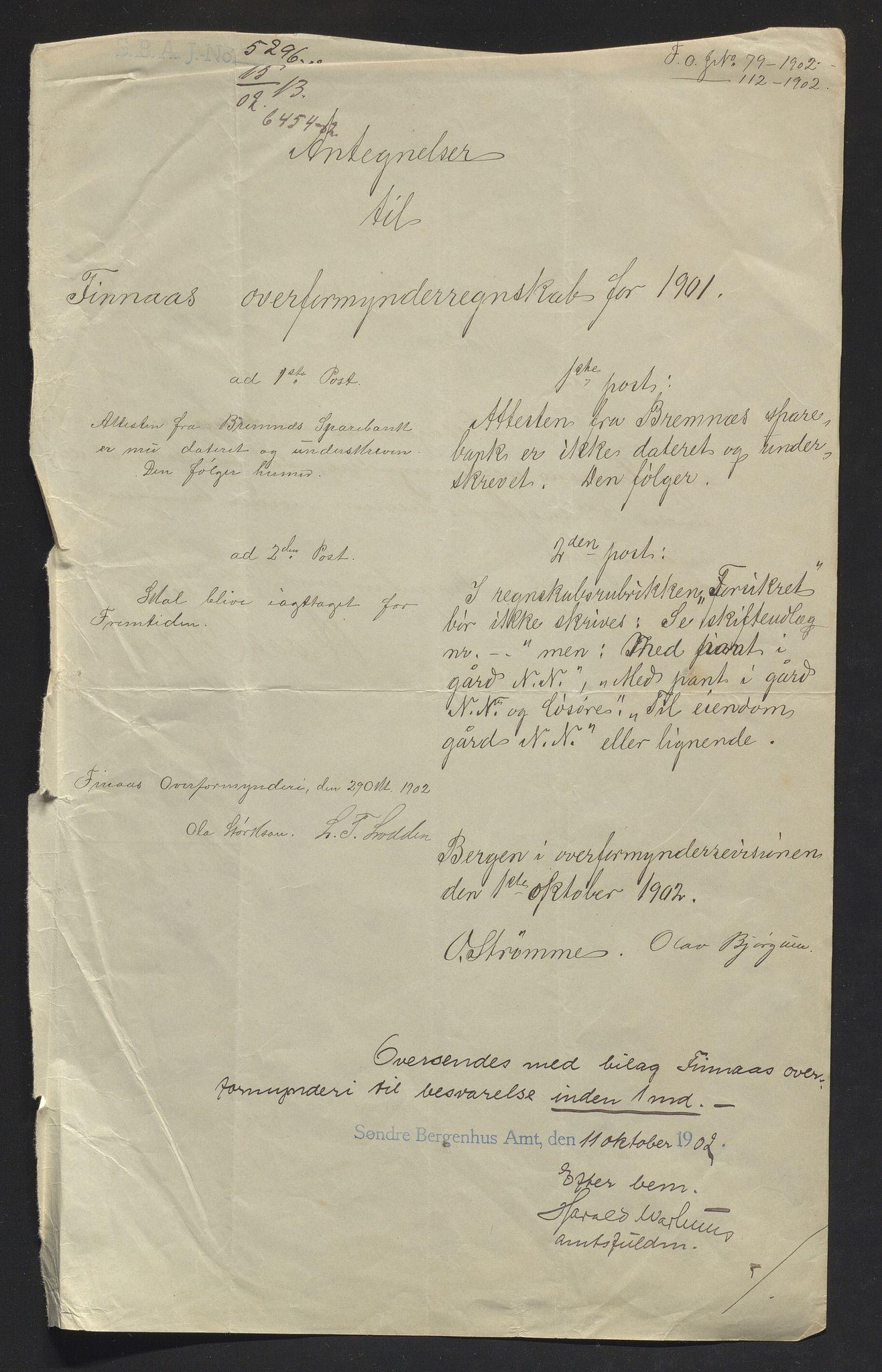 IKAH, Finnaas kommune. Overformynderiet, R/Ra/Raa/L0007: Årlege rekneskap m/vedlegg, 1901