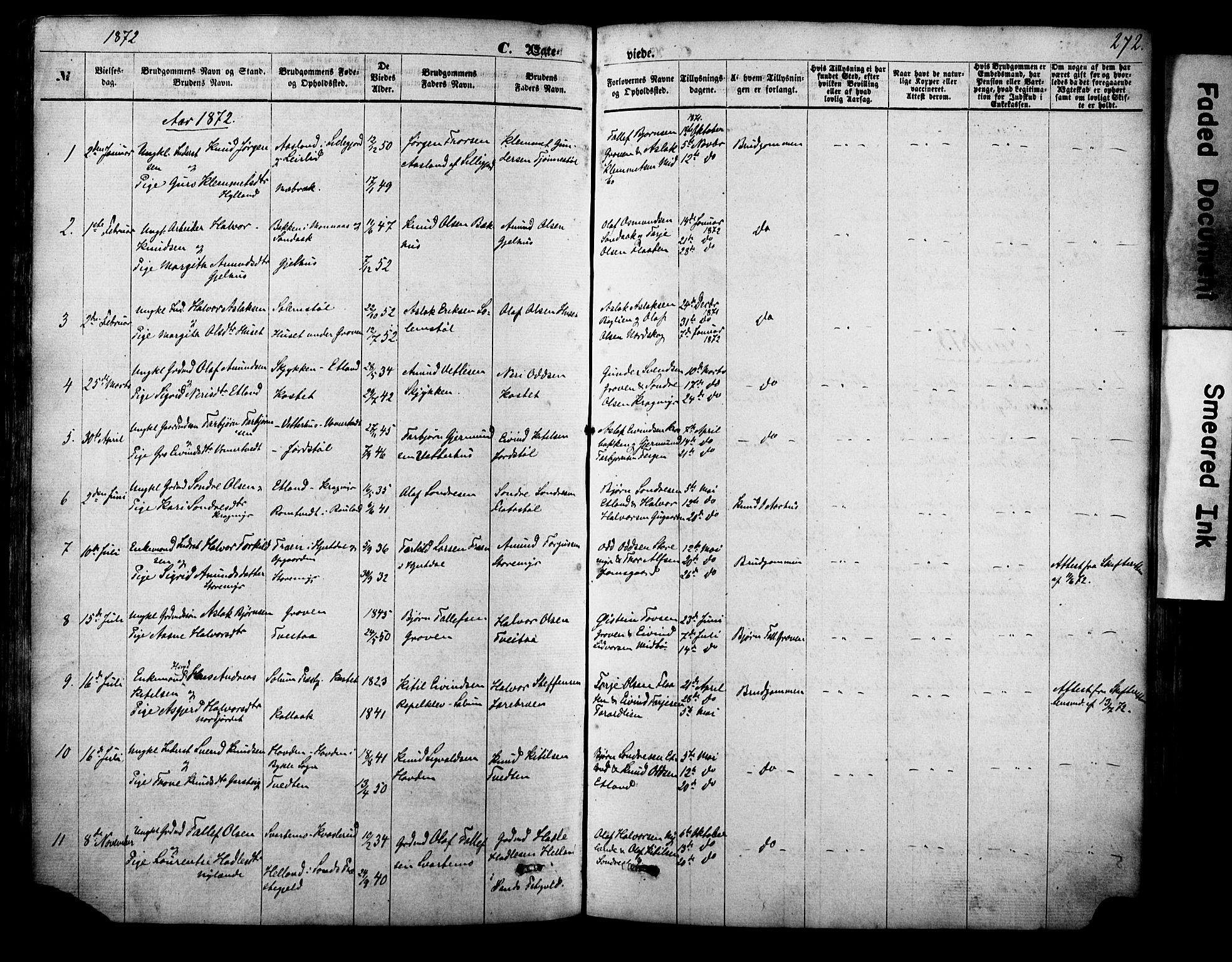 SAKO, Vinje kirkebøker, F/Fa/L0005: Ministerialbok nr. I 5, 1870-1886, s. 272