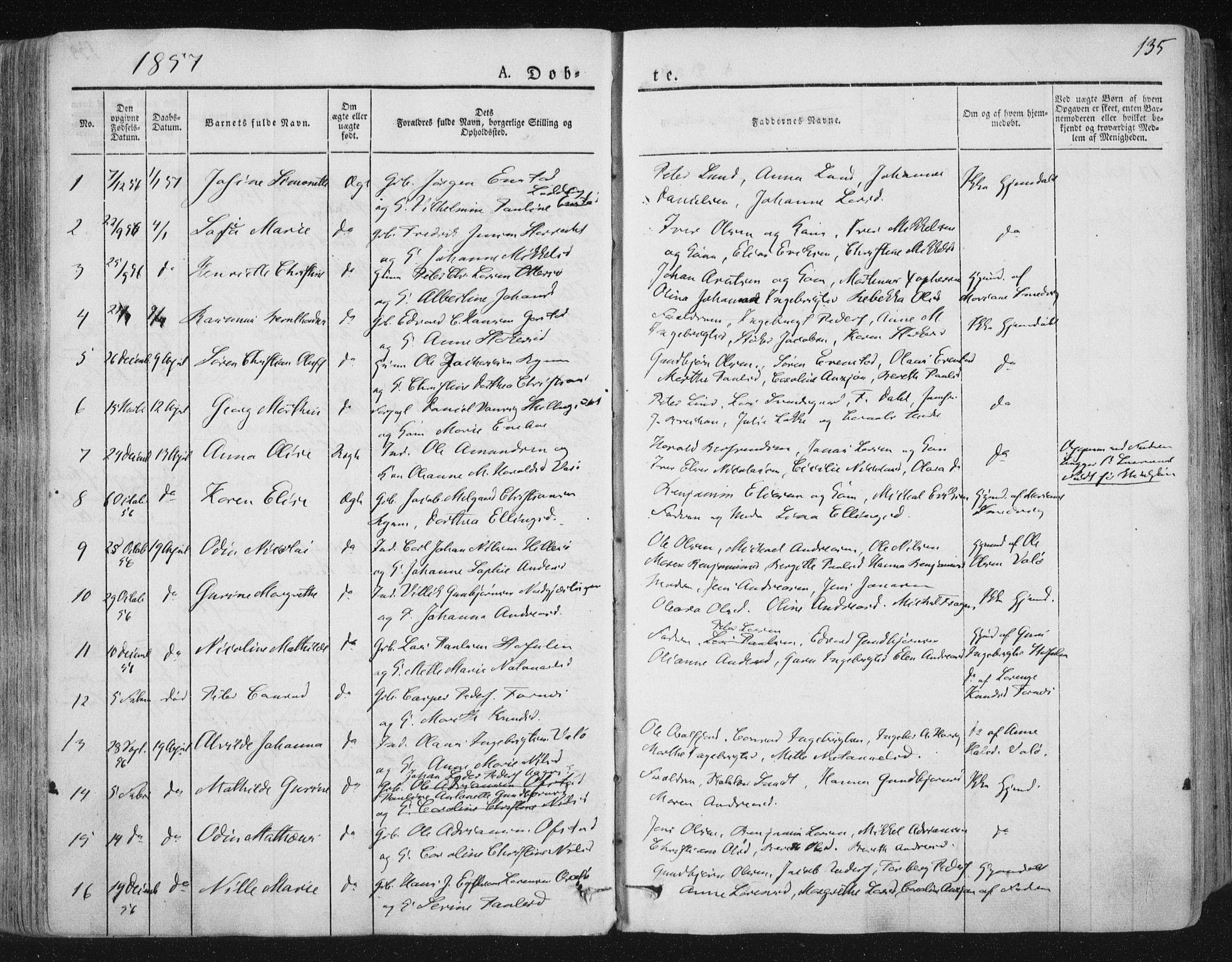 SAT, Ministerialprotokoller, klokkerbøker og fødselsregistre - Nord-Trøndelag, 784/L0669: Ministerialbok nr. 784A04, 1829-1859, s. 135