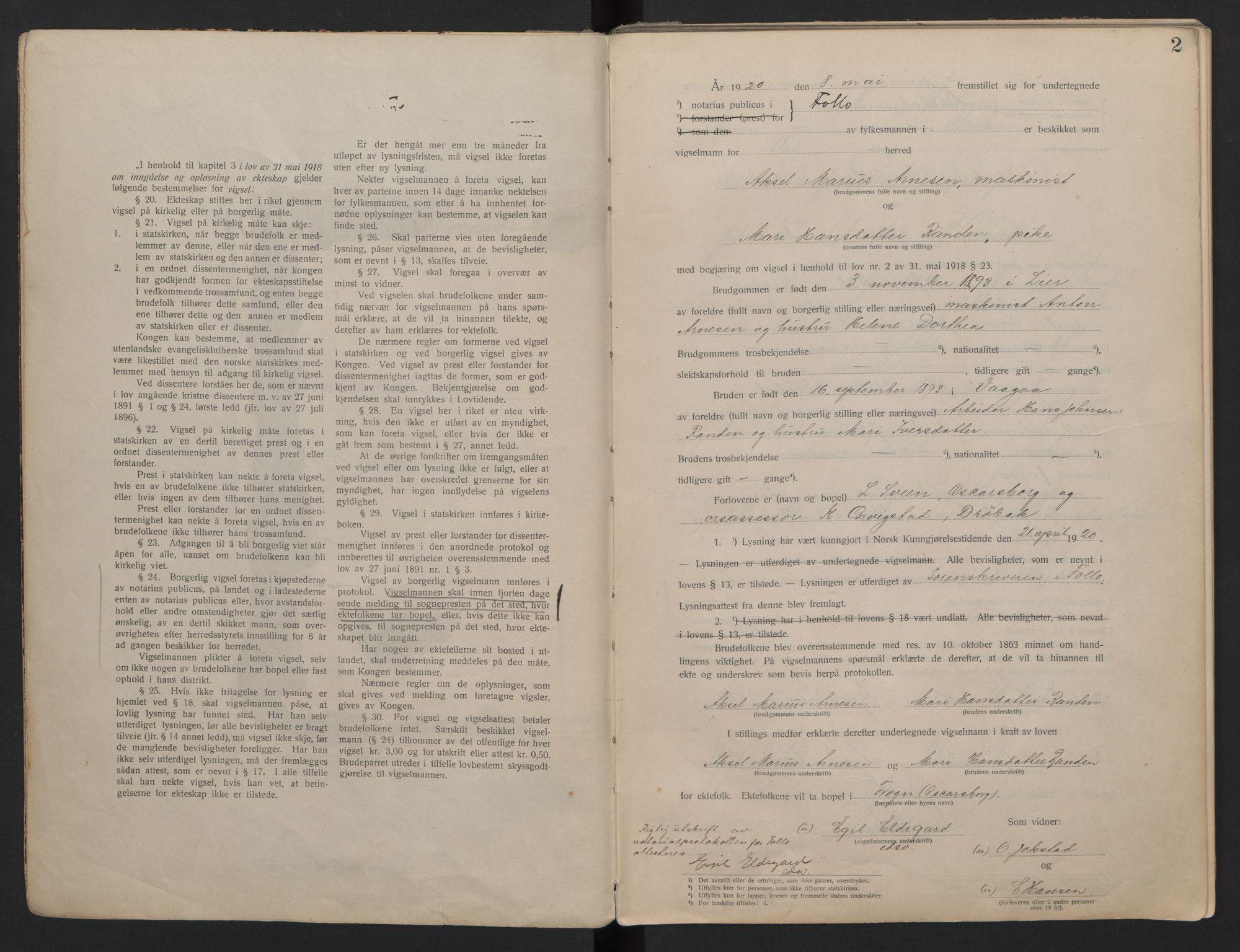 SAO, Follo sorenskriveri, L/La/Lab/L0001: Vigselsbok, 1920-1942, s. 2