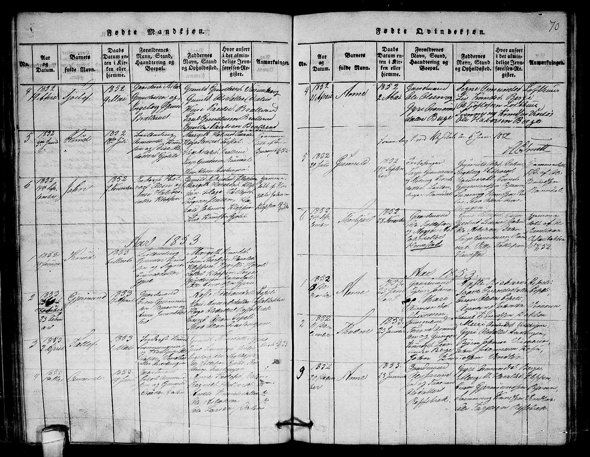 SAKO, Lårdal kirkebøker, G/Gb/L0001: Klokkerbok nr. II 1, 1815-1865, s. 70