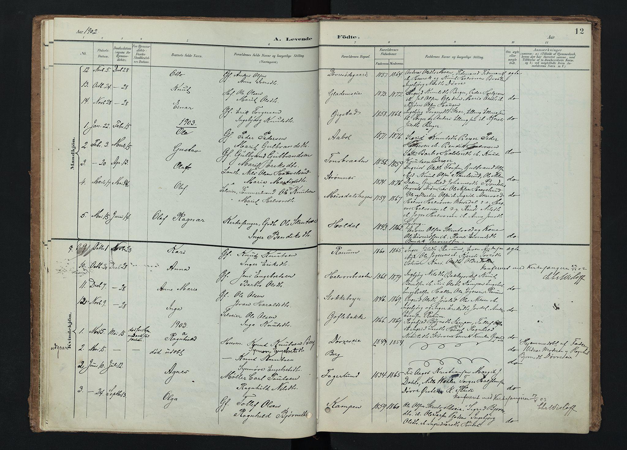 SAH, Nord-Aurdal prestekontor, Ministerialbok nr. 15, 1896-1914, s. 12