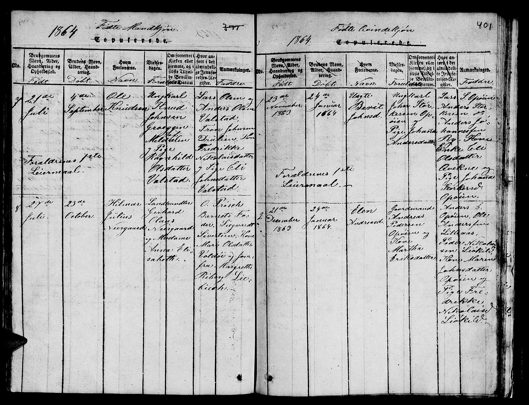 SAT, Ministerialprotokoller, klokkerbøker og fødselsregistre - Sør-Trøndelag, 671/L0842: Klokkerbok nr. 671C01, 1816-1867, s. 400-401