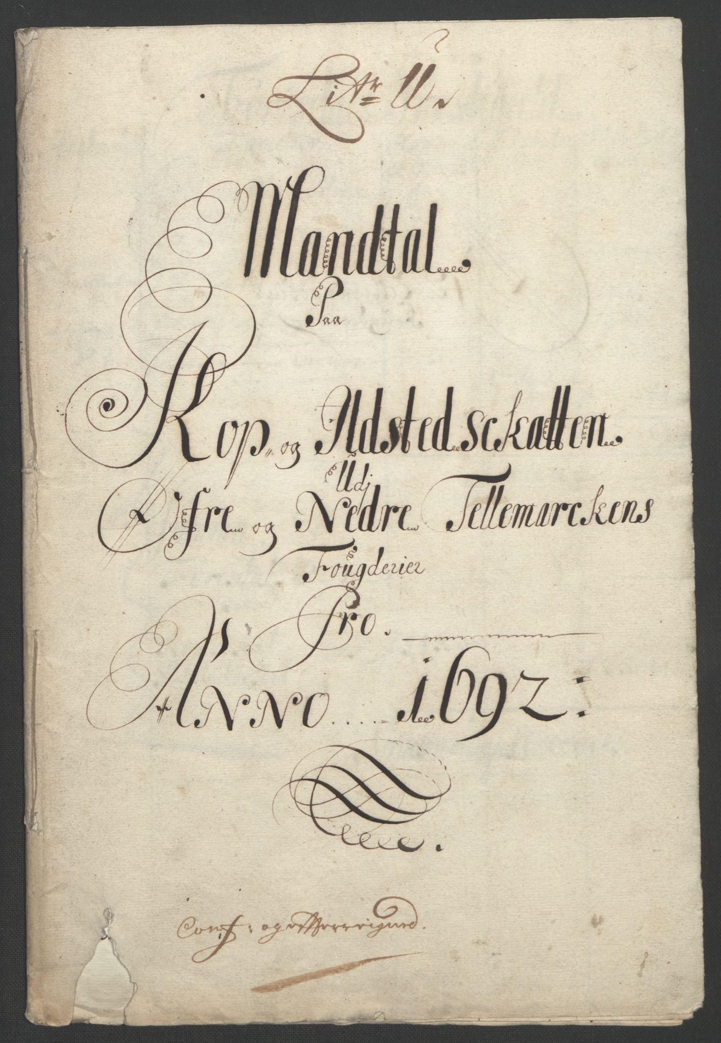 RA, Rentekammeret inntil 1814, Reviderte regnskaper, Fogderegnskap, R35/L2090: Fogderegnskap Øvre og Nedre Telemark, 1692, s. 314