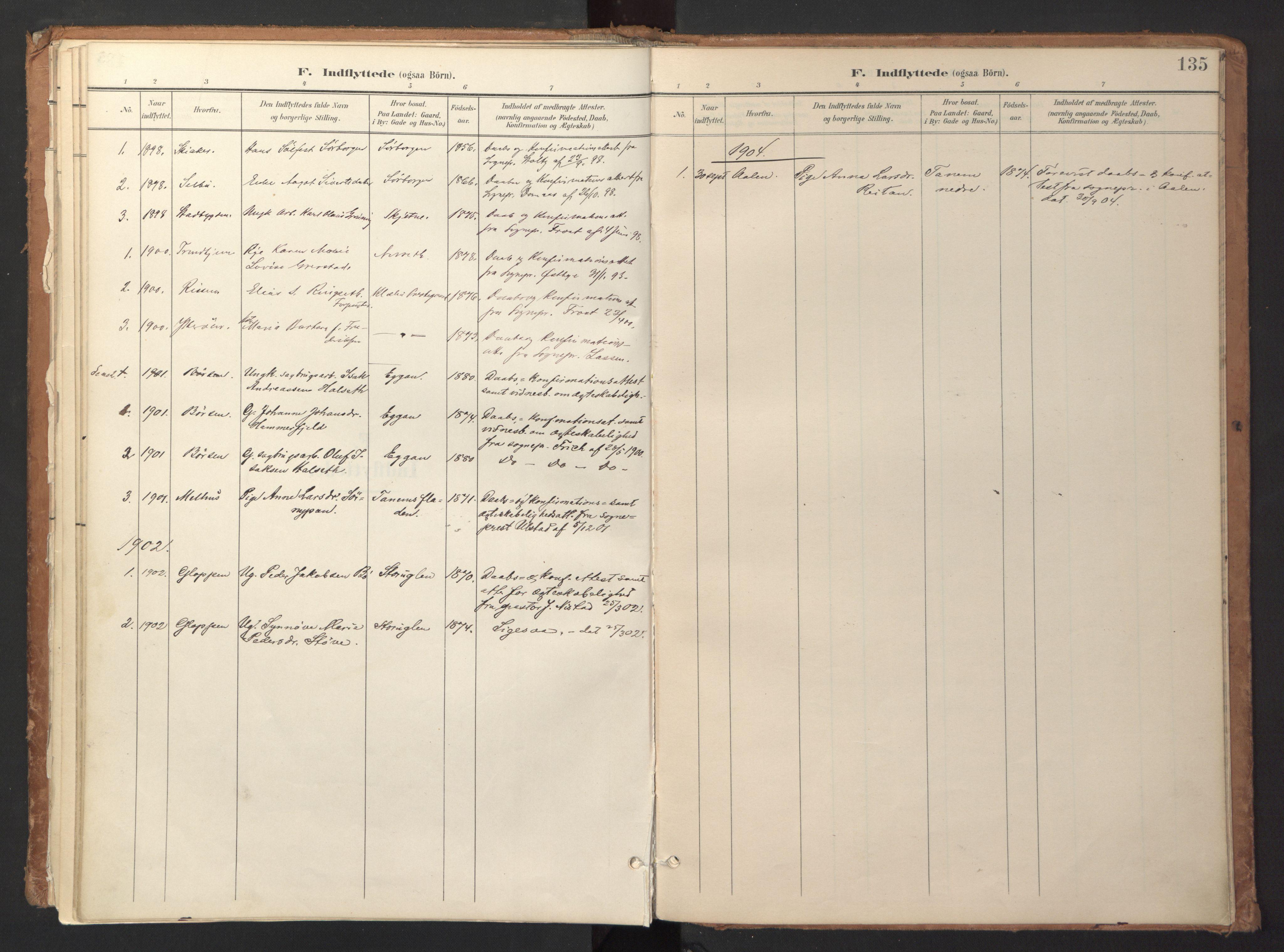 SAT, Ministerialprotokoller, klokkerbøker og fødselsregistre - Sør-Trøndelag, 618/L0448: Ministerialbok nr. 618A11, 1898-1916, s. 135