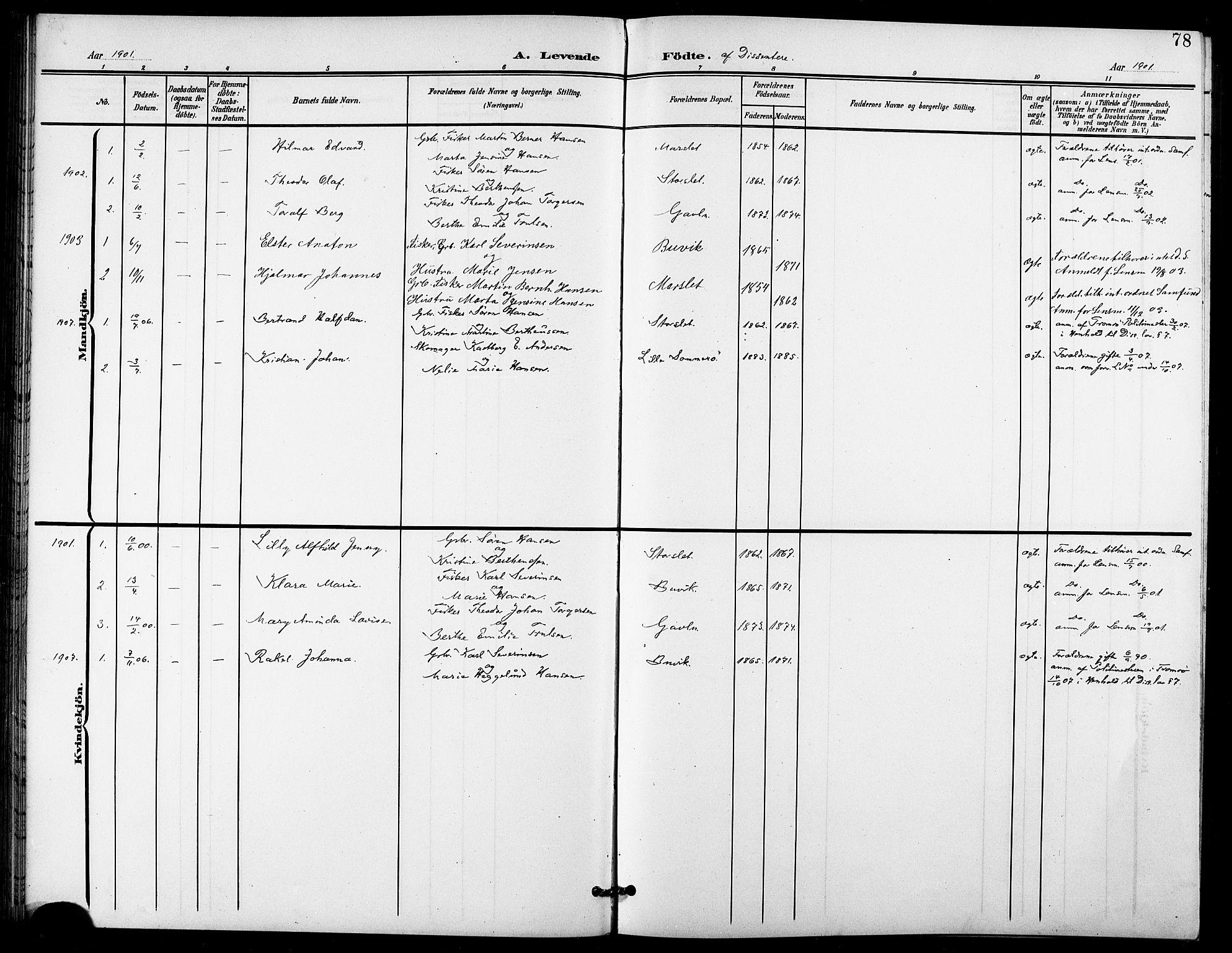SATØ, Lenvik sokneprestembete, H/Ha: Klokkerbok nr. 22, 1901-1918, s. 78
