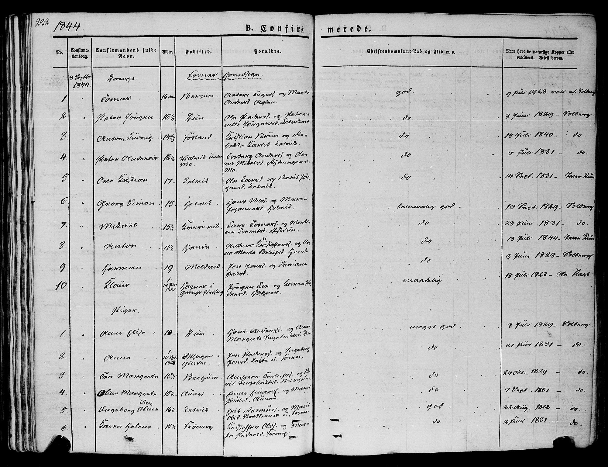 SAT, Ministerialprotokoller, klokkerbøker og fødselsregistre - Nord-Trøndelag, 773/L0614: Ministerialbok nr. 773A05, 1831-1856, s. 232