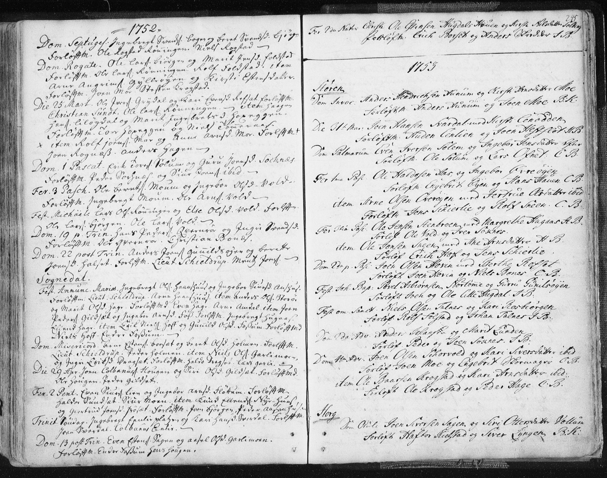 SAT, Ministerialprotokoller, klokkerbøker og fødselsregistre - Sør-Trøndelag, 687/L0991: Ministerialbok nr. 687A02, 1747-1790, s. 245