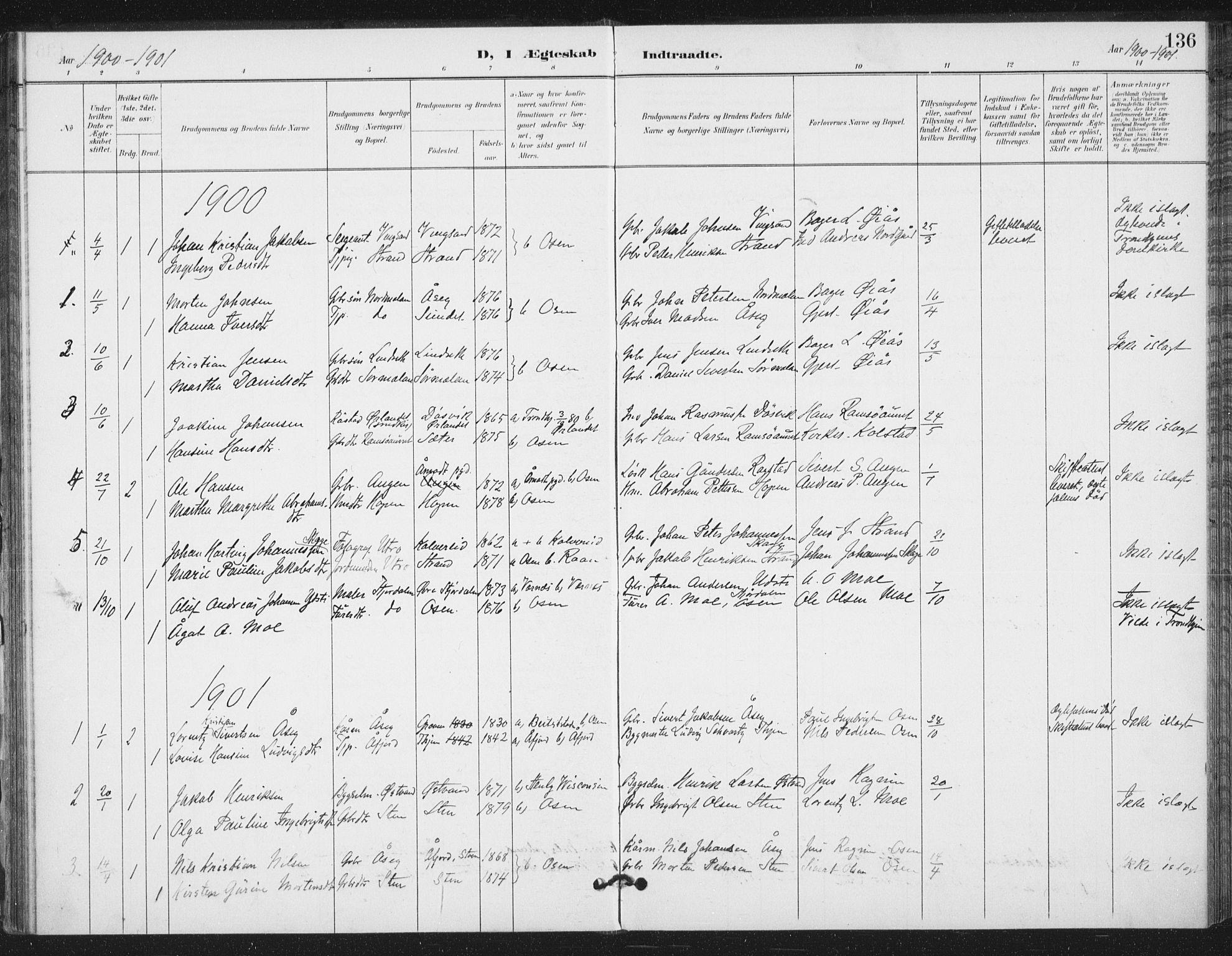 SAT, Ministerialprotokoller, klokkerbøker og fødselsregistre - Sør-Trøndelag, 658/L0723: Ministerialbok nr. 658A02, 1897-1912, s. 136