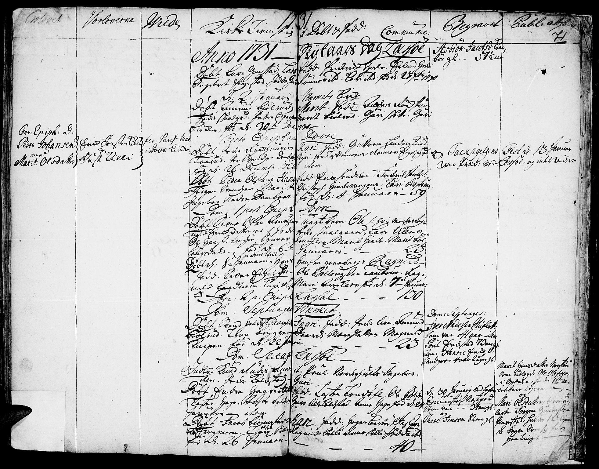 SAH, Lesja prestekontor, Ministerialbok nr. 1, 1724-1731, s. 71