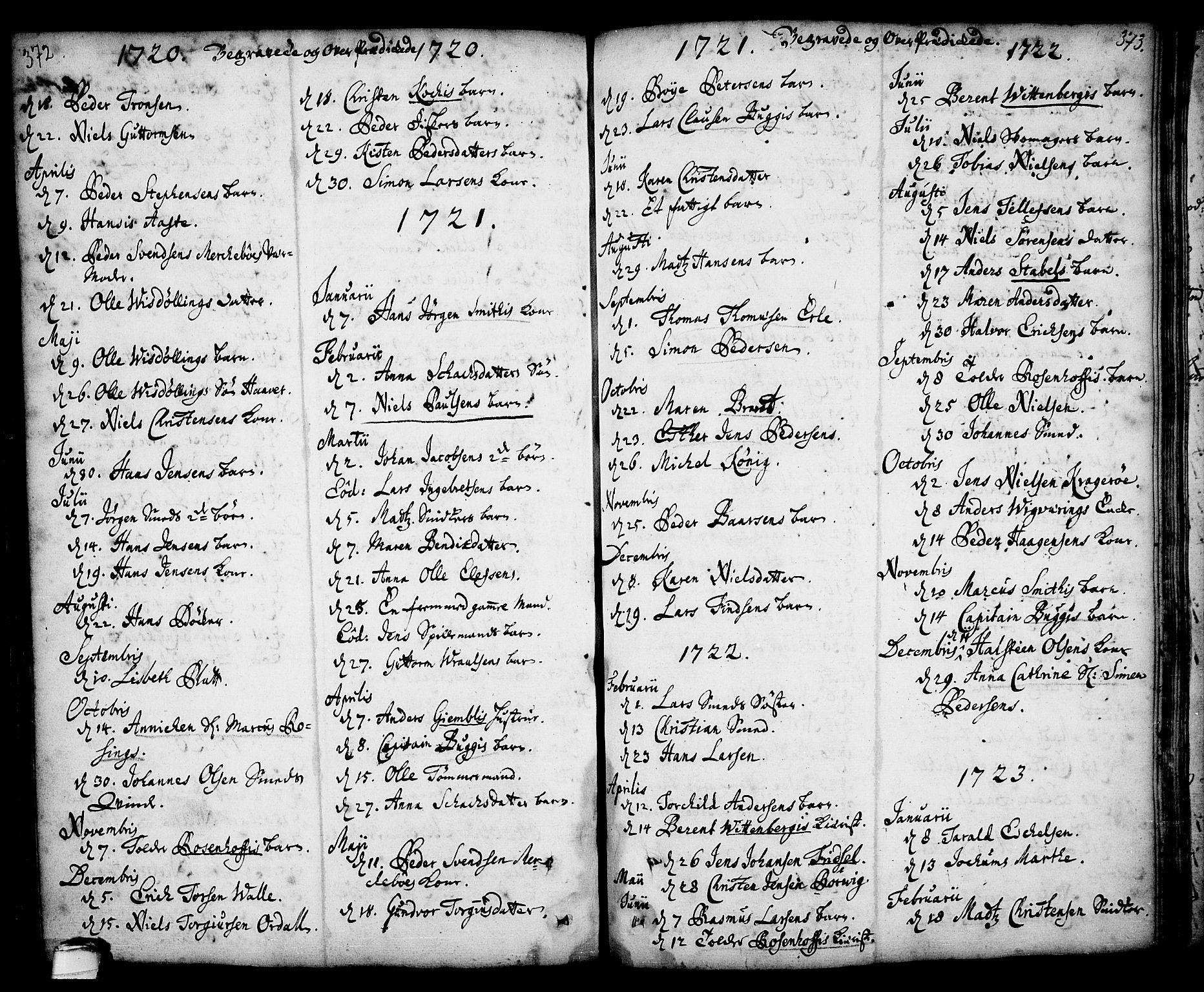 SAKO, Kragerø kirkebøker, F/Fa/L0001: Ministerialbok nr. 1, 1702-1766, s. 372-373