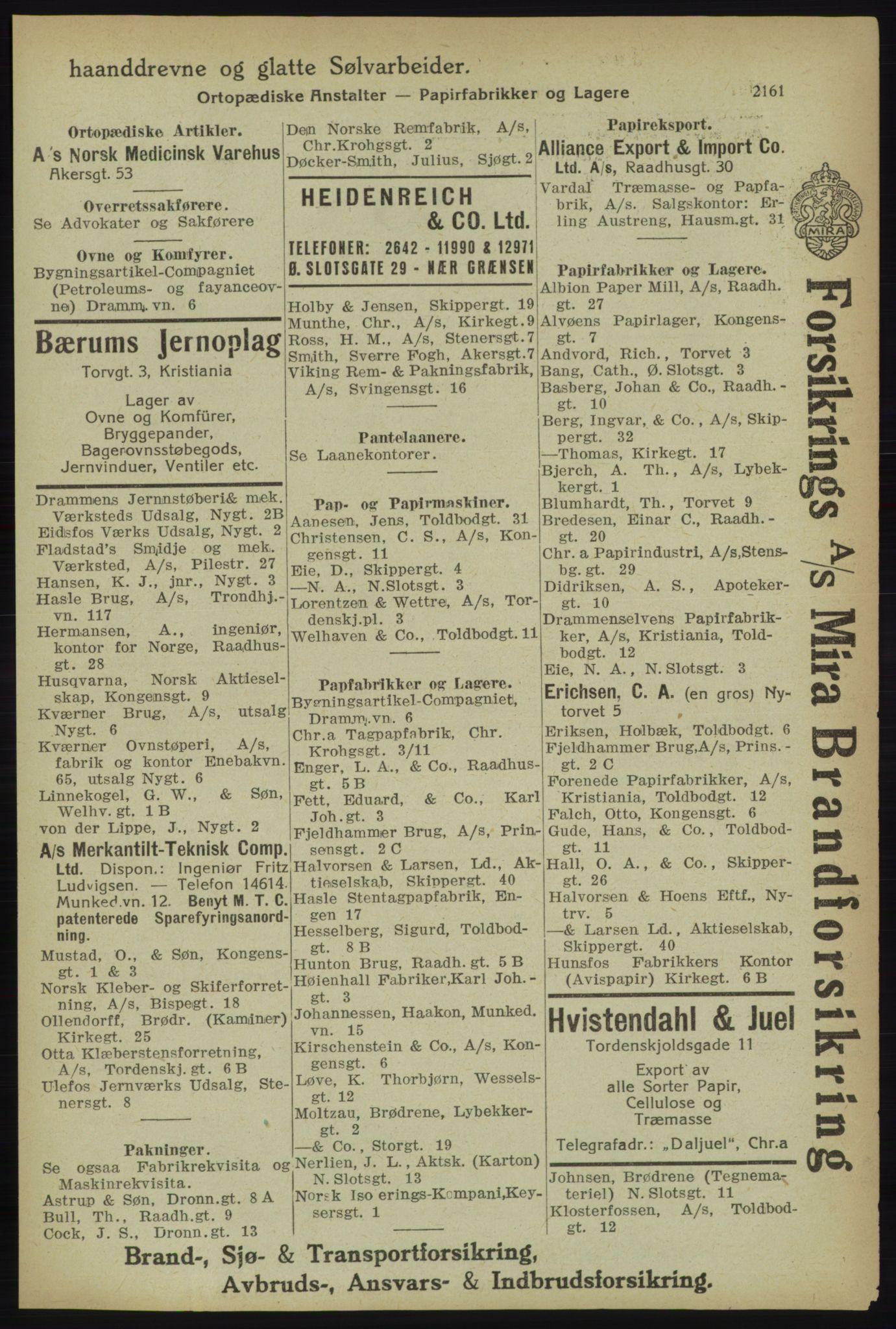 RA, Kristiania adressebok (publikasjon)*, 1918, s. 2161