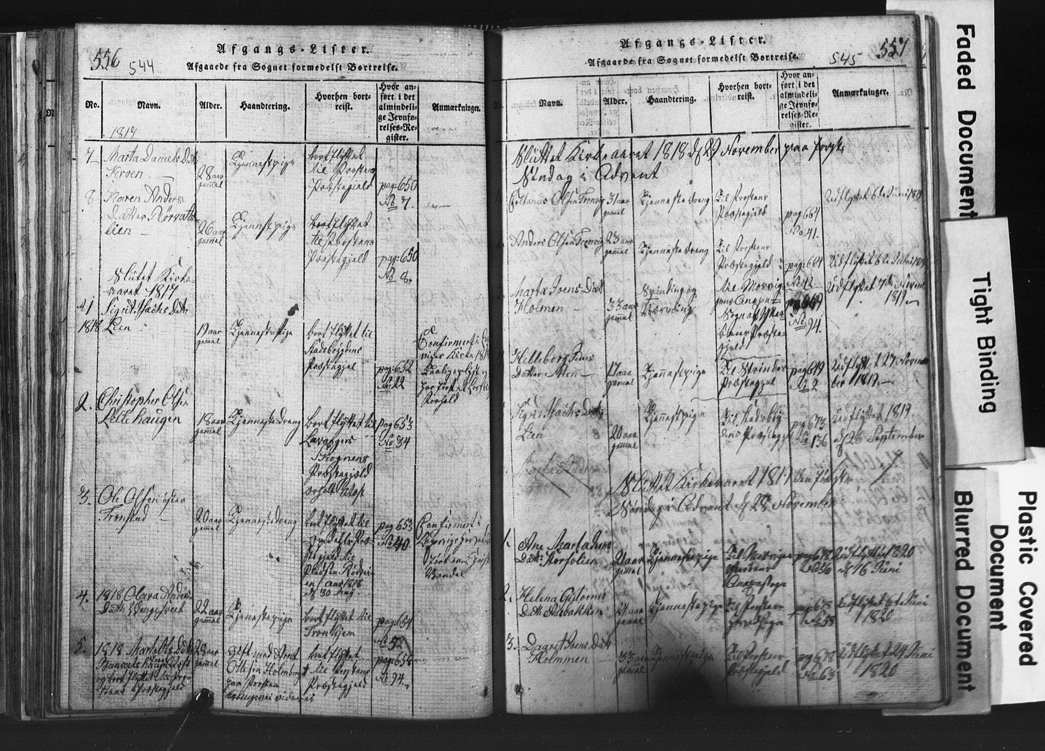 SAT, Ministerialprotokoller, klokkerbøker og fødselsregistre - Nord-Trøndelag, 701/L0017: Klokkerbok nr. 701C01, 1817-1825, s. 544-545