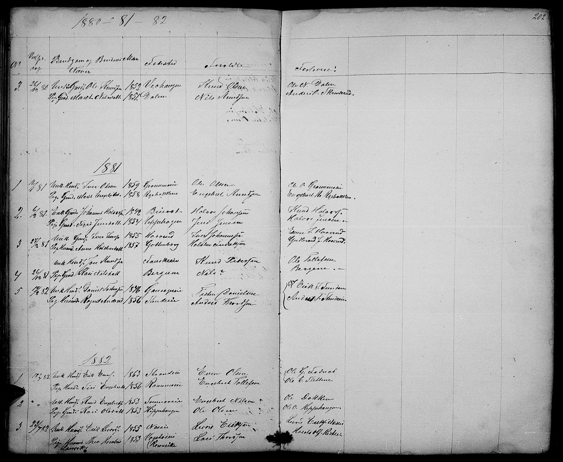 SAH, Nord-Aurdal prestekontor, Klokkerbok nr. 3, 1842-1882, s. 202