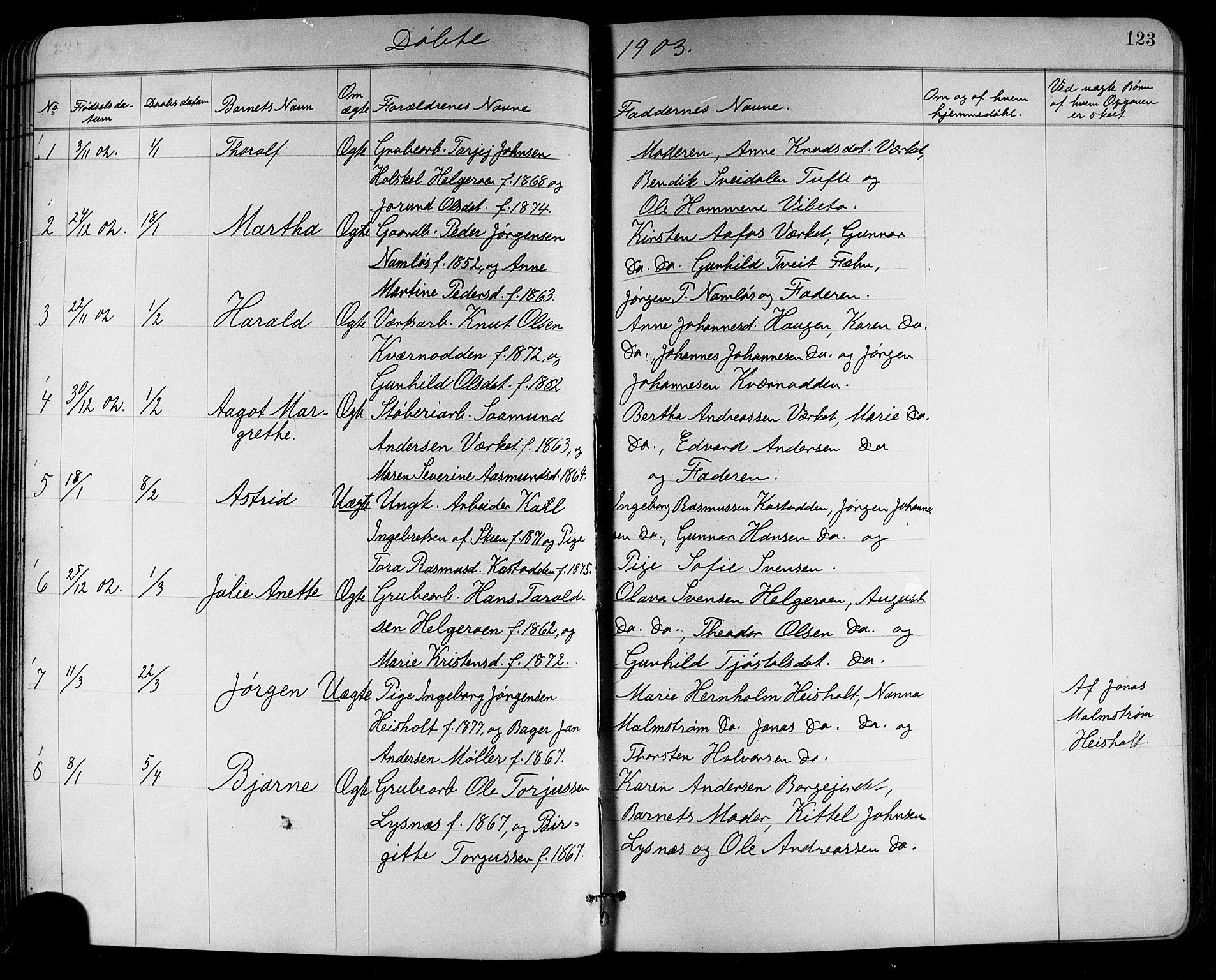 SAKO, Holla kirkebøker, G/Ga/L0005: Klokkerbok nr. I 5, 1891-1917, s. 123
