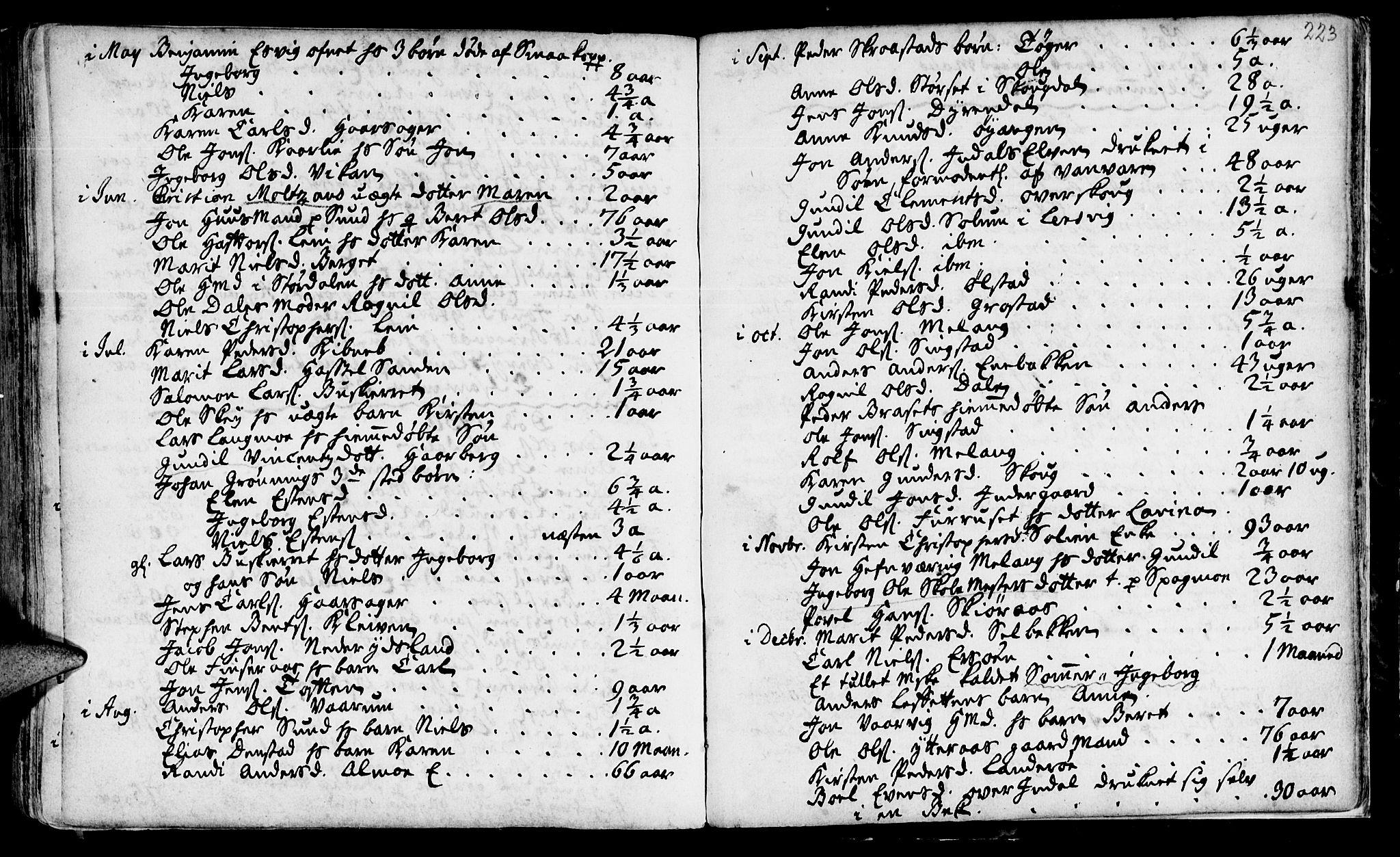 SAT, Ministerialprotokoller, klokkerbøker og fødselsregistre - Sør-Trøndelag, 646/L0604: Ministerialbok nr. 646A02, 1735-1750, s. 222-223