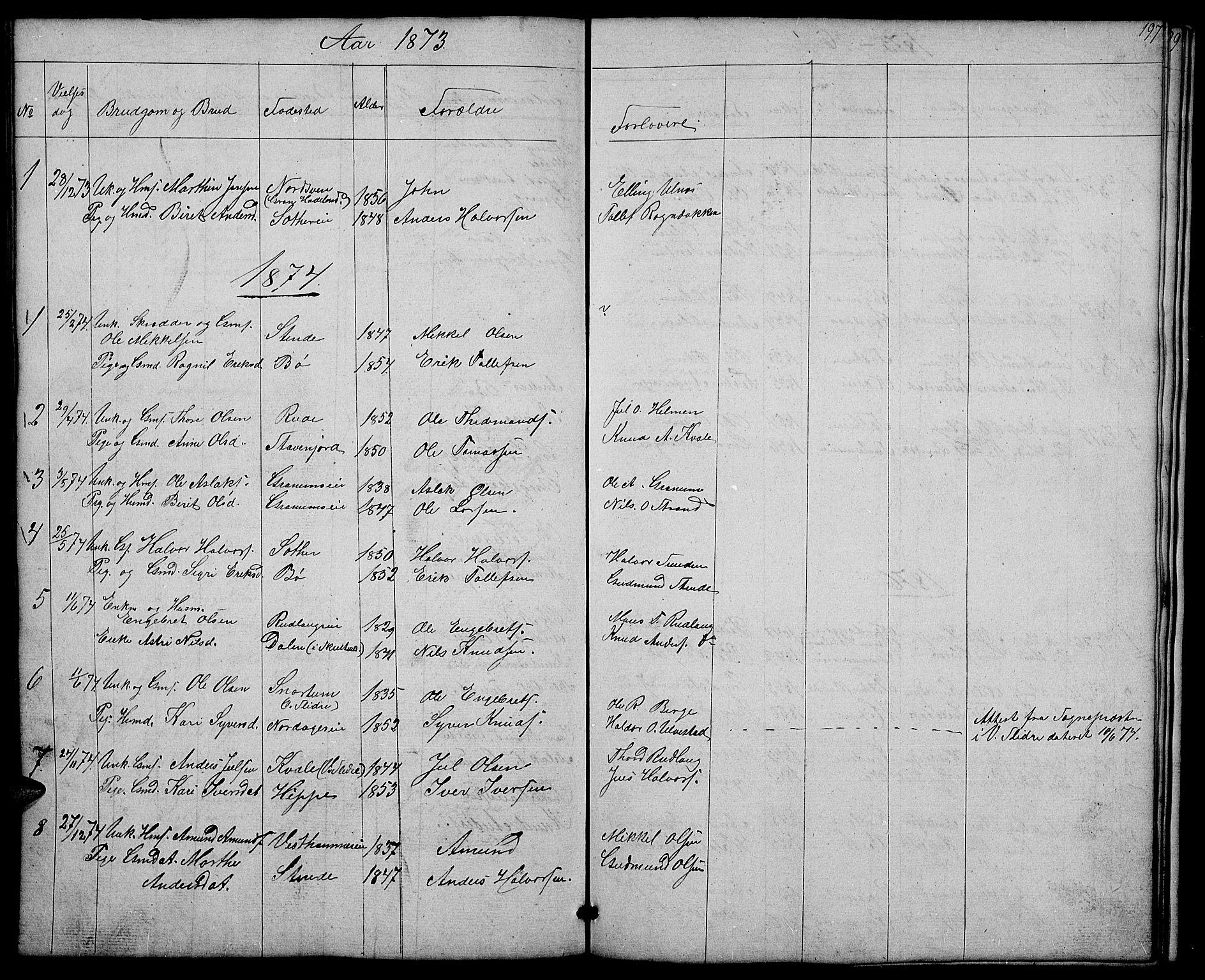SAH, Nord-Aurdal prestekontor, Klokkerbok nr. 4, 1842-1882, s. 197