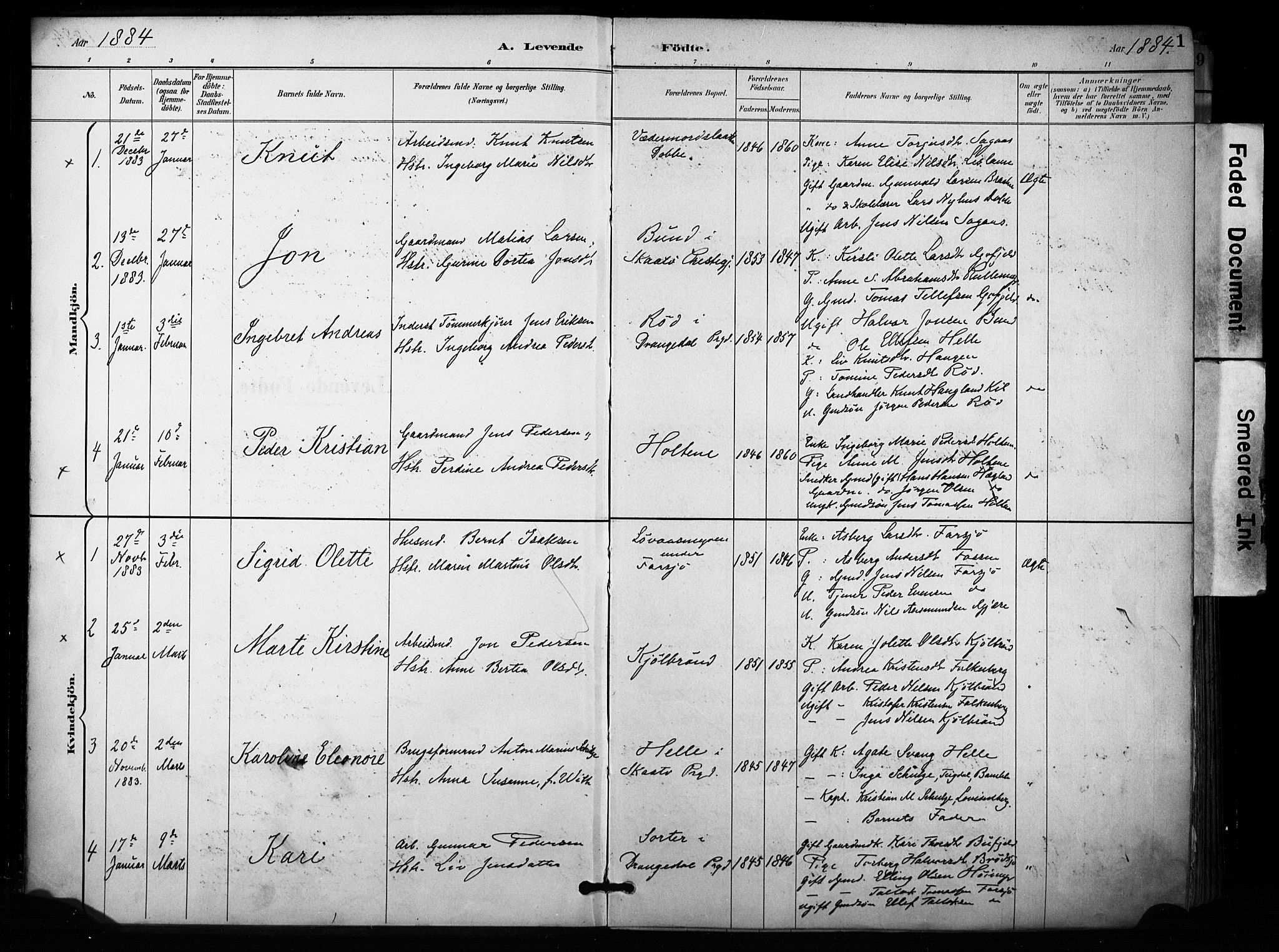SAKO, Sannidal kirkebøker, F/Fa/L0015: Ministerialbok nr. 15, 1884-1899, s. 1