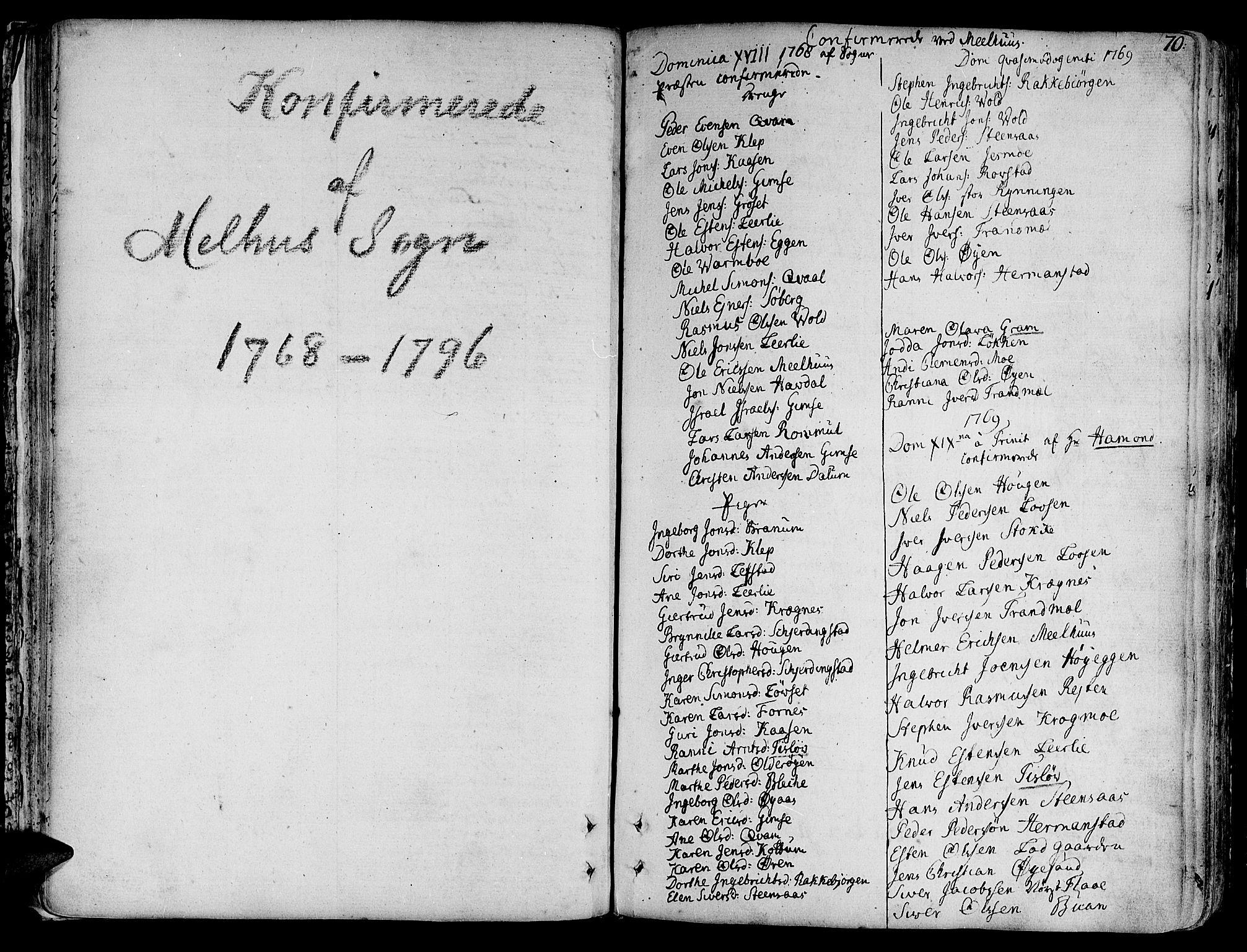 SAT, Ministerialprotokoller, klokkerbøker og fødselsregistre - Sør-Trøndelag, 691/L1061: Ministerialbok nr. 691A02 /1, 1768-1815, s. 70