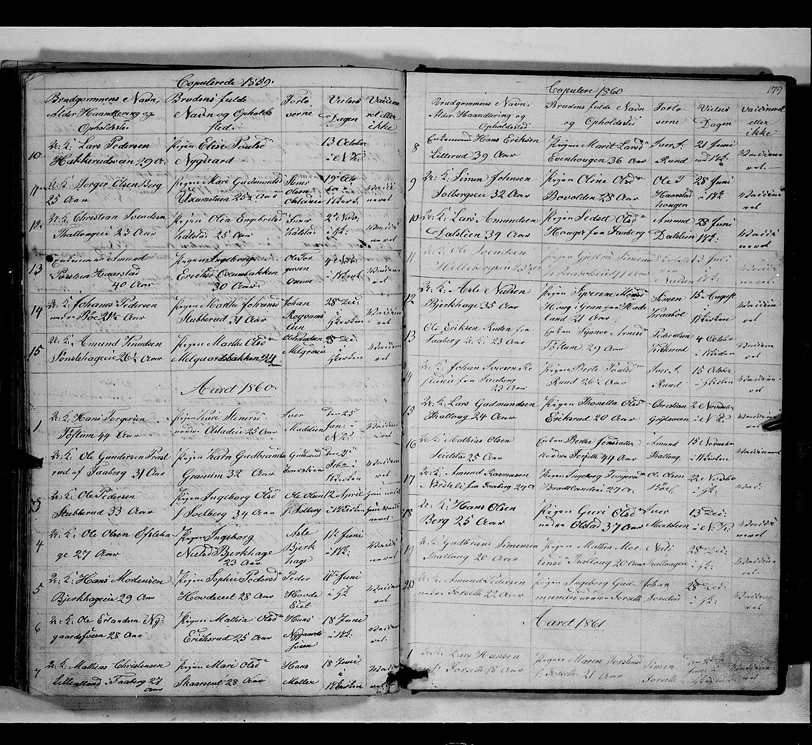 SAH, Gausdal prestekontor, Klokkerbok nr. 5, 1846-1867, s. 179